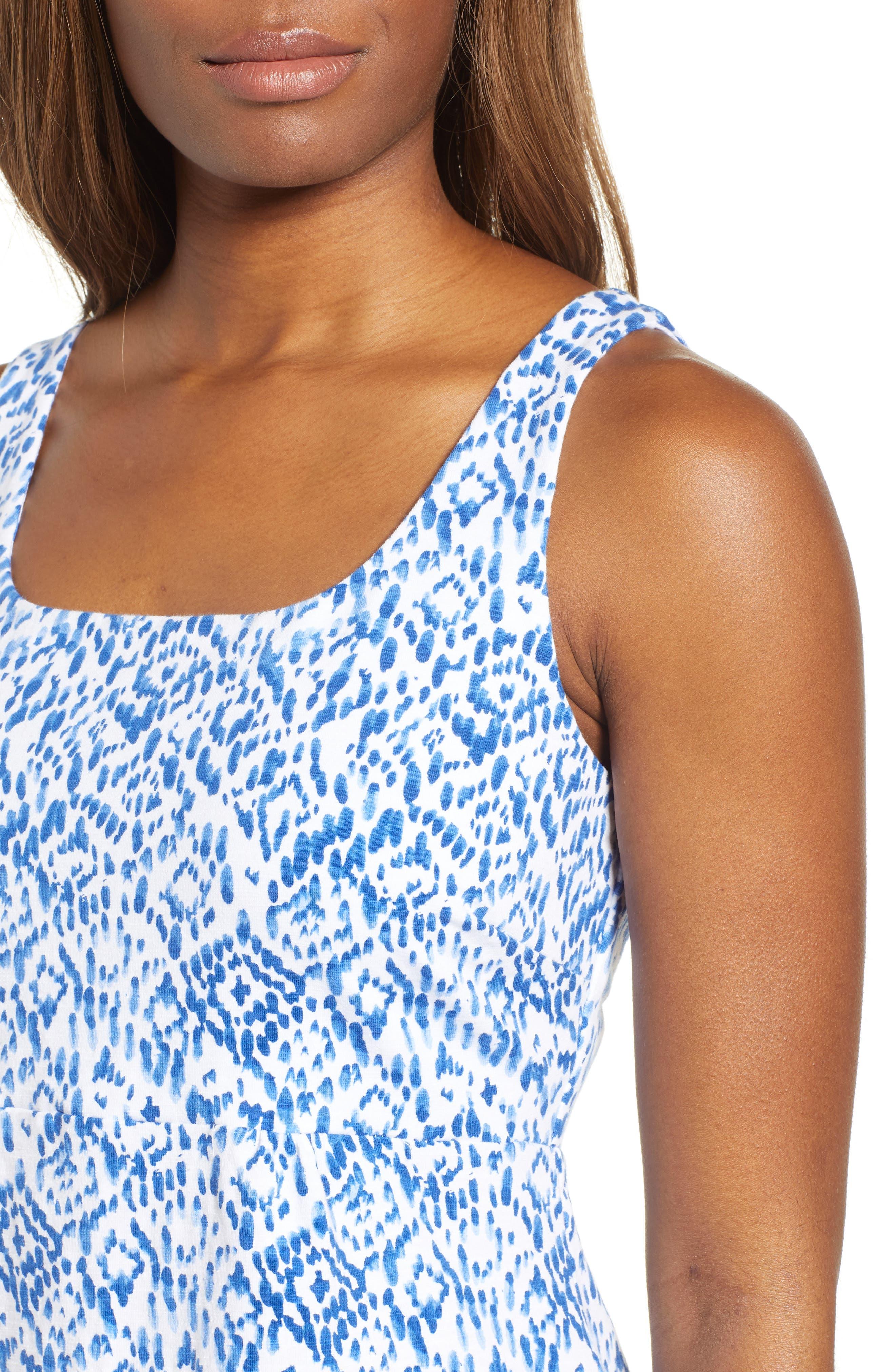 La Liorena Sleeveless Stretch Cotton Tank Dress,                             Alternate thumbnail 4, color,                             Palace Blue