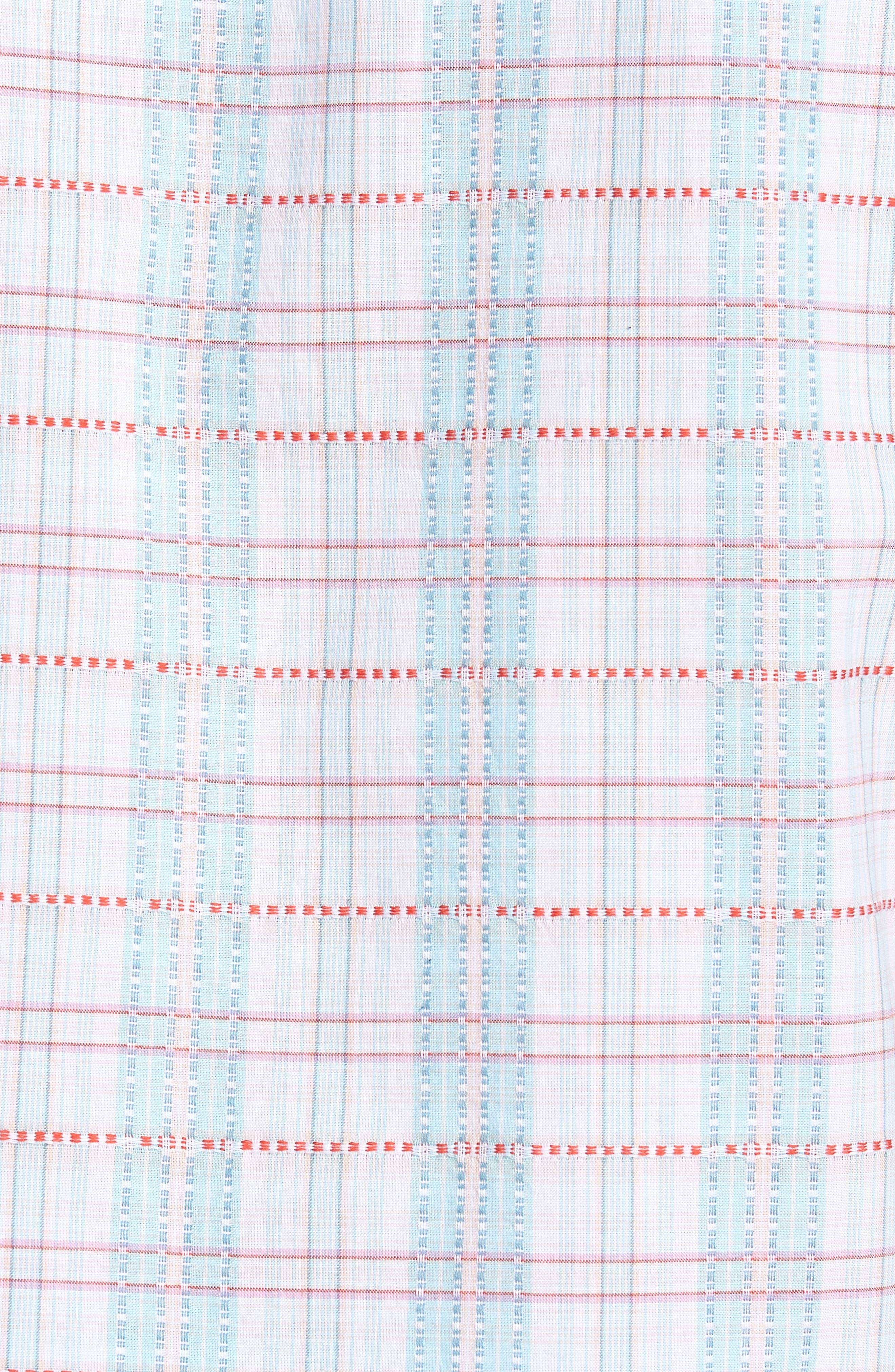 Dobby Plaid Woven Shirt,                             Alternate thumbnail 5, color,                             Bright White