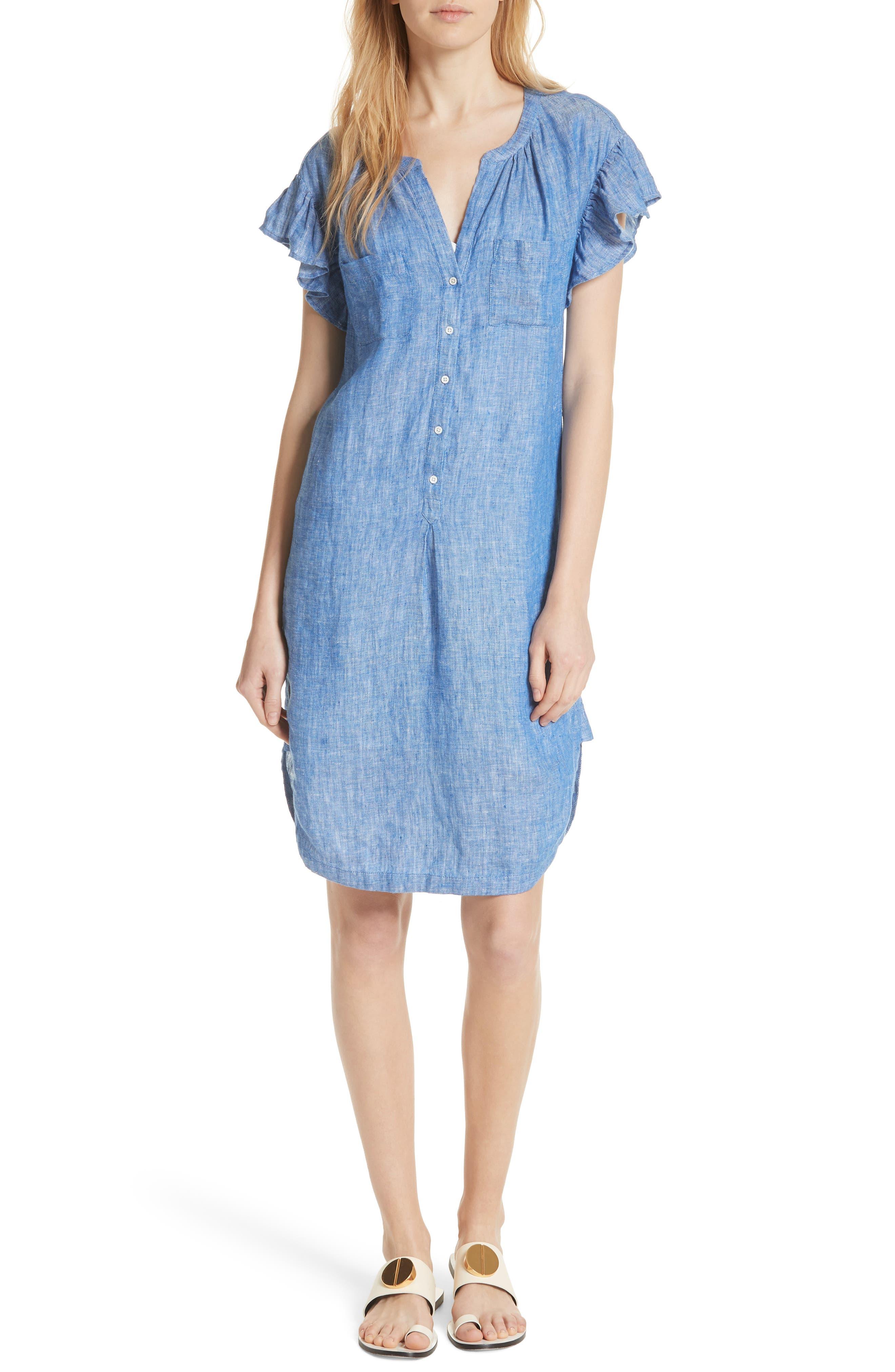 Fermina Ruffle Sleeve Linen Dress,                             Main thumbnail 1, color,                             Surf Break