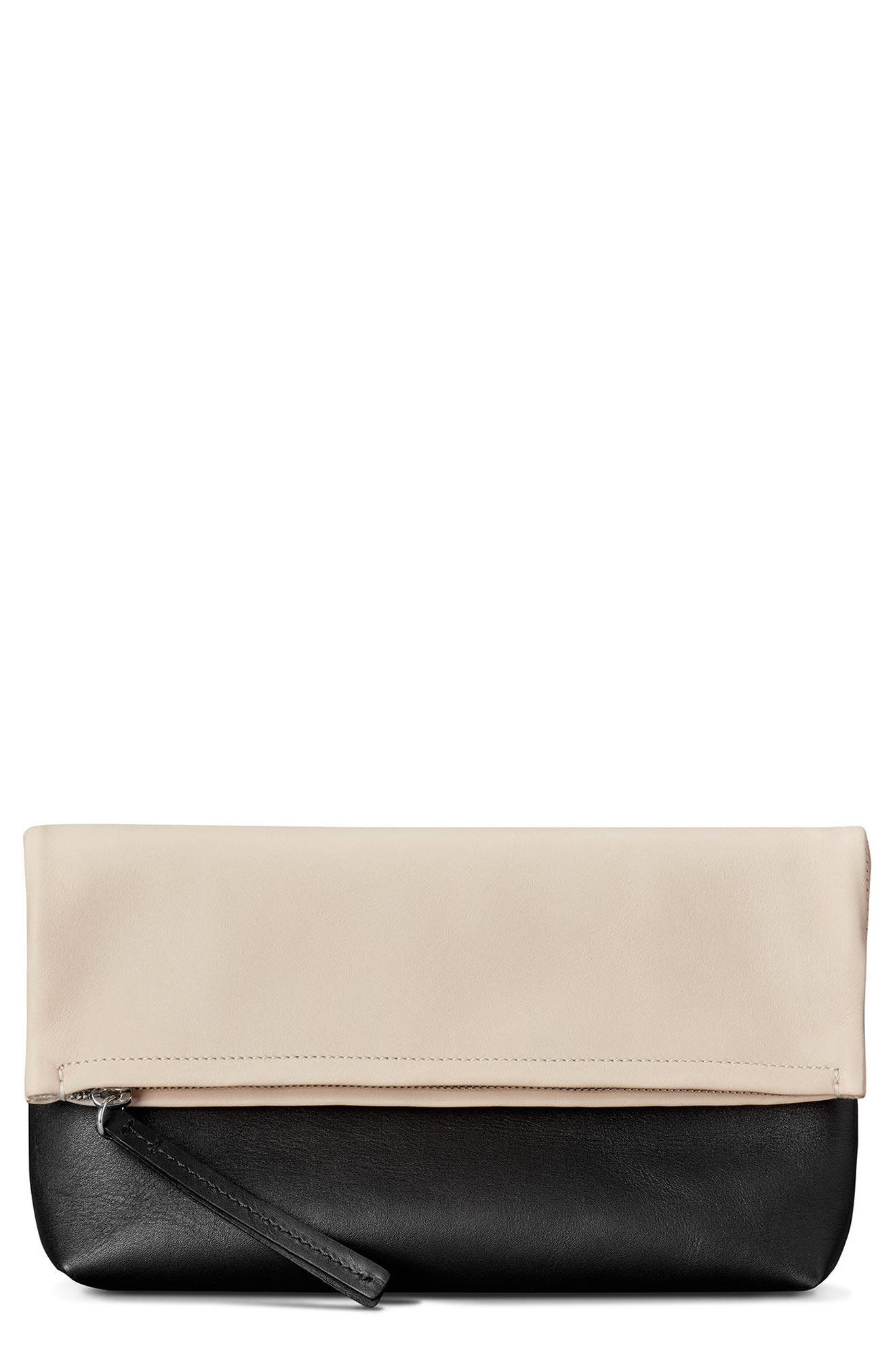 Birdy Leather Foldover Clutch,                             Main thumbnail 1, color,                             Soft Blush Black