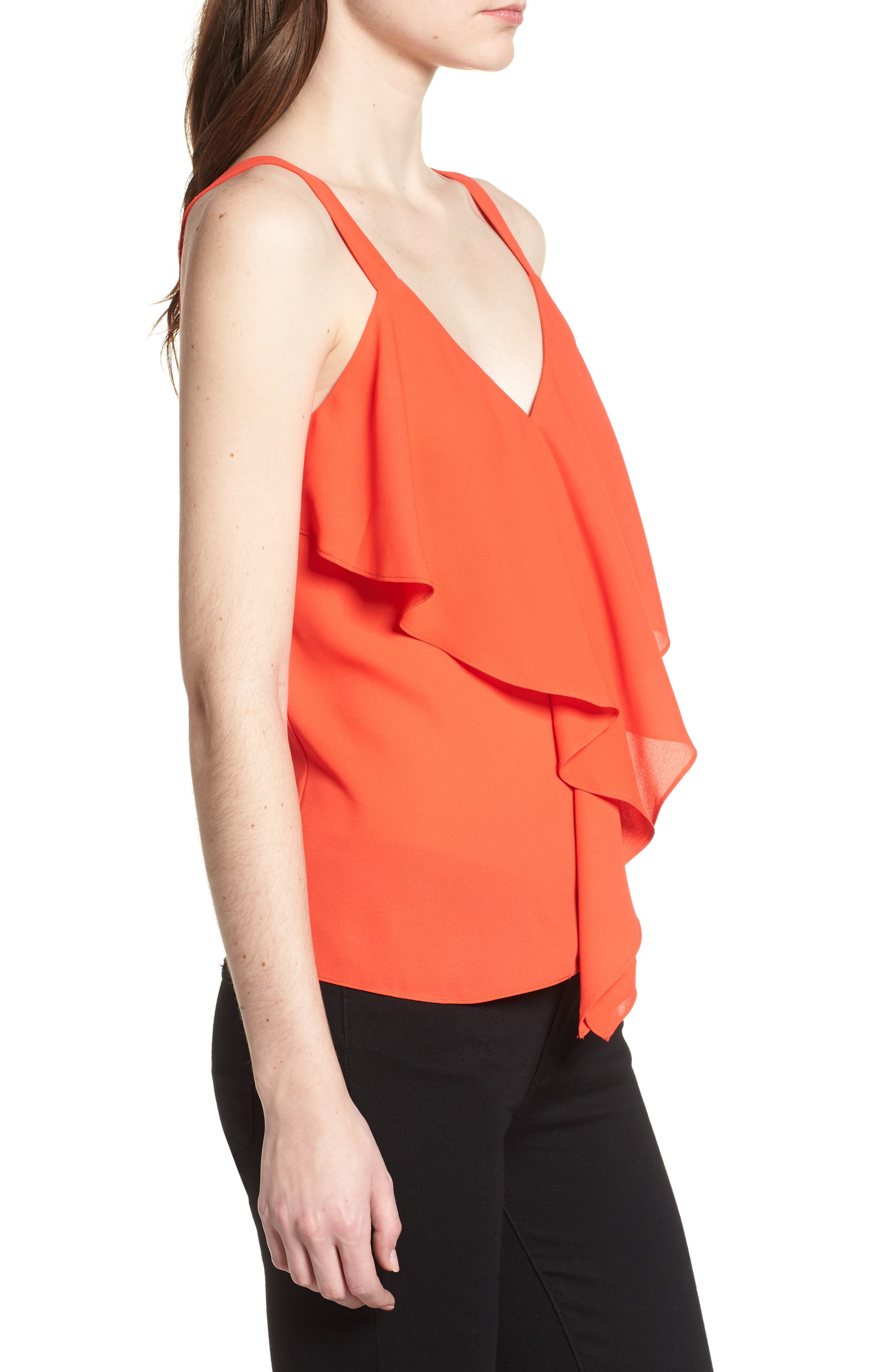 Ruffle Front Tank,                             Alternate thumbnail 3, color,                             Red Poppy