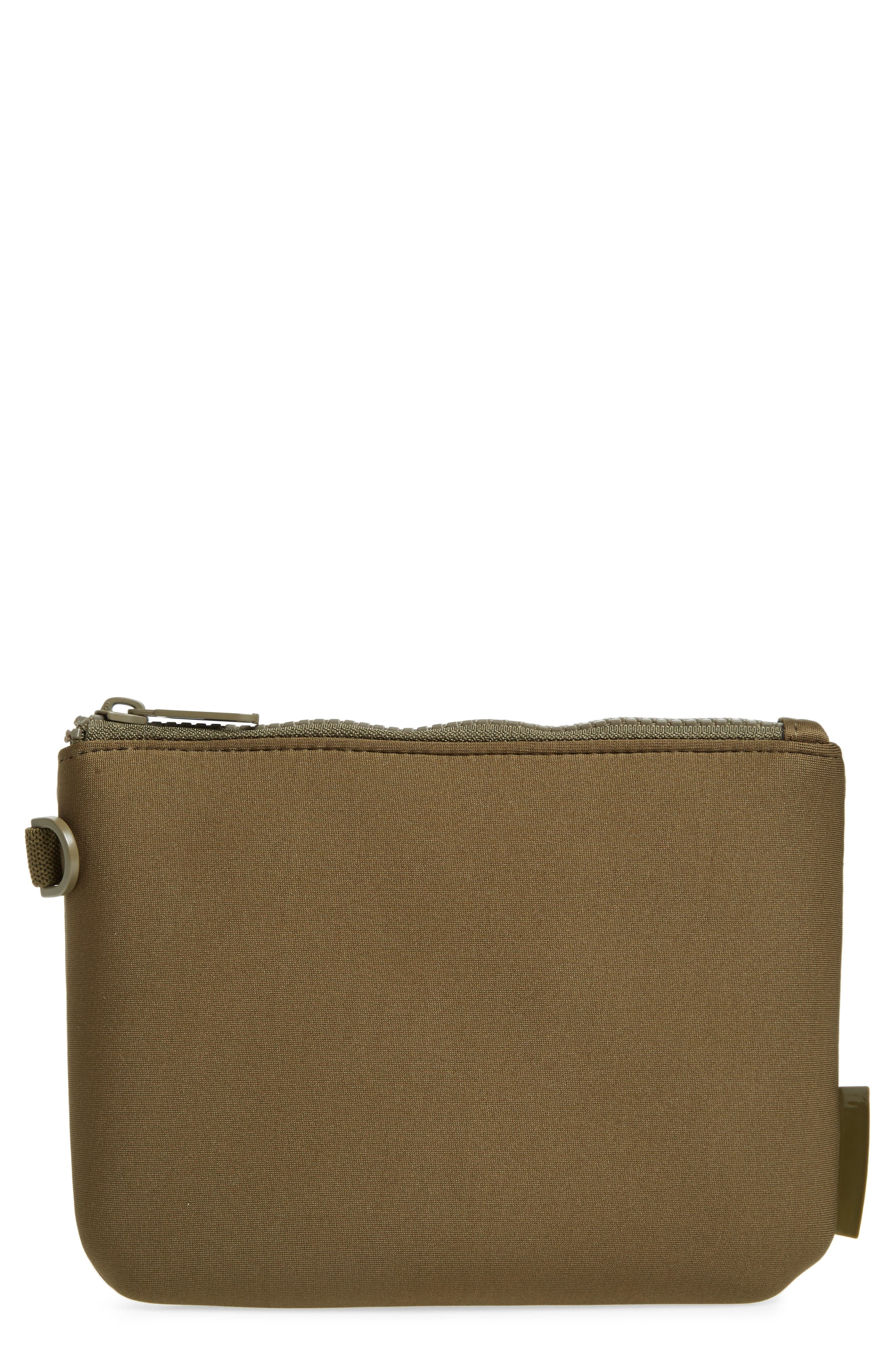 DAGNE DOVER Scout Small Zip Top Pouch - Green in Dark Moss