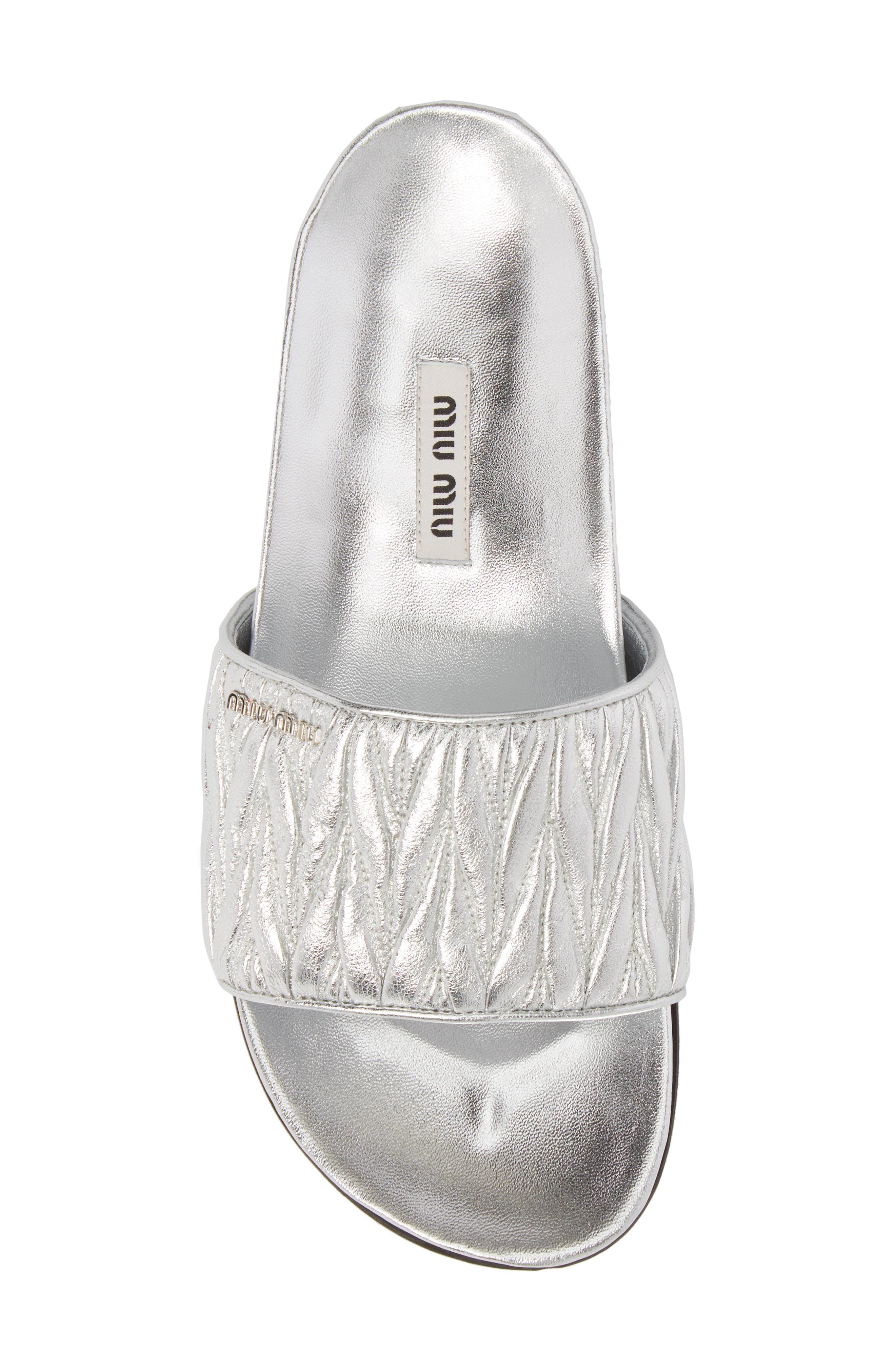 Matelassé Slide Sandal,                             Alternate thumbnail 5, color,                             Silver