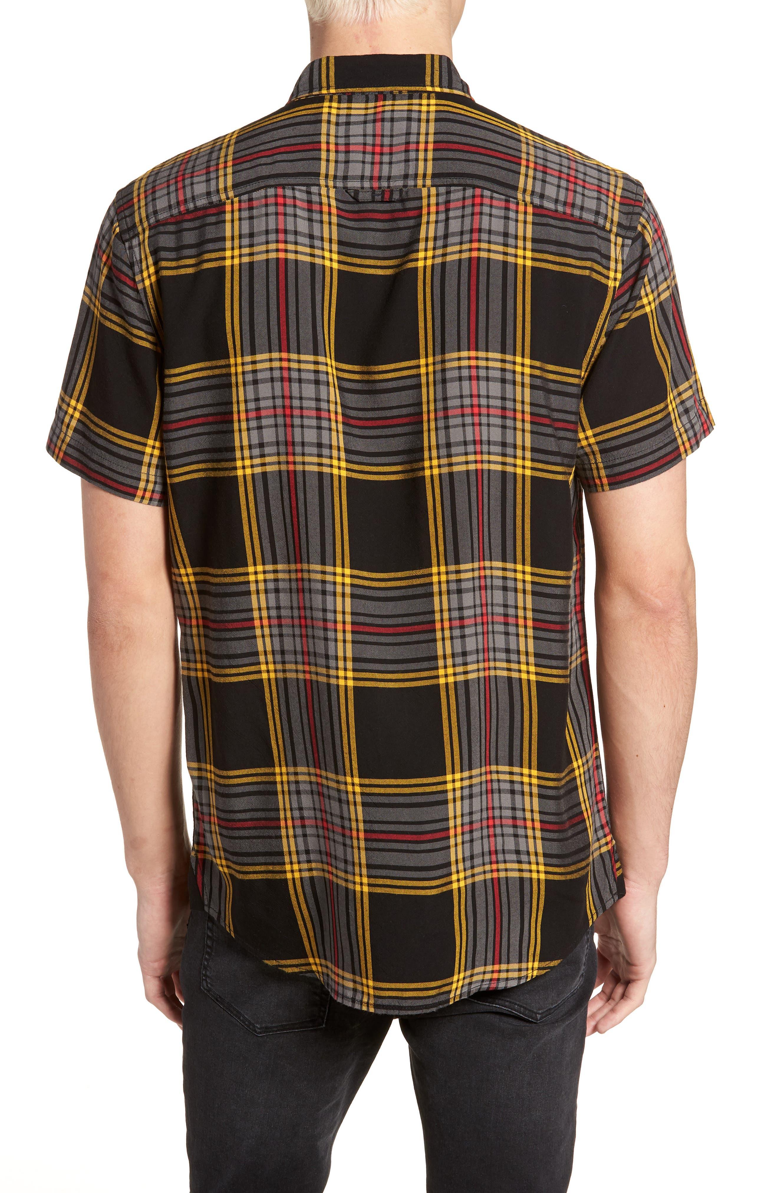 Yarn Dyed Plaid Shirt,                             Alternate thumbnail 3, color,                             Black Yellow Ethan Plaid