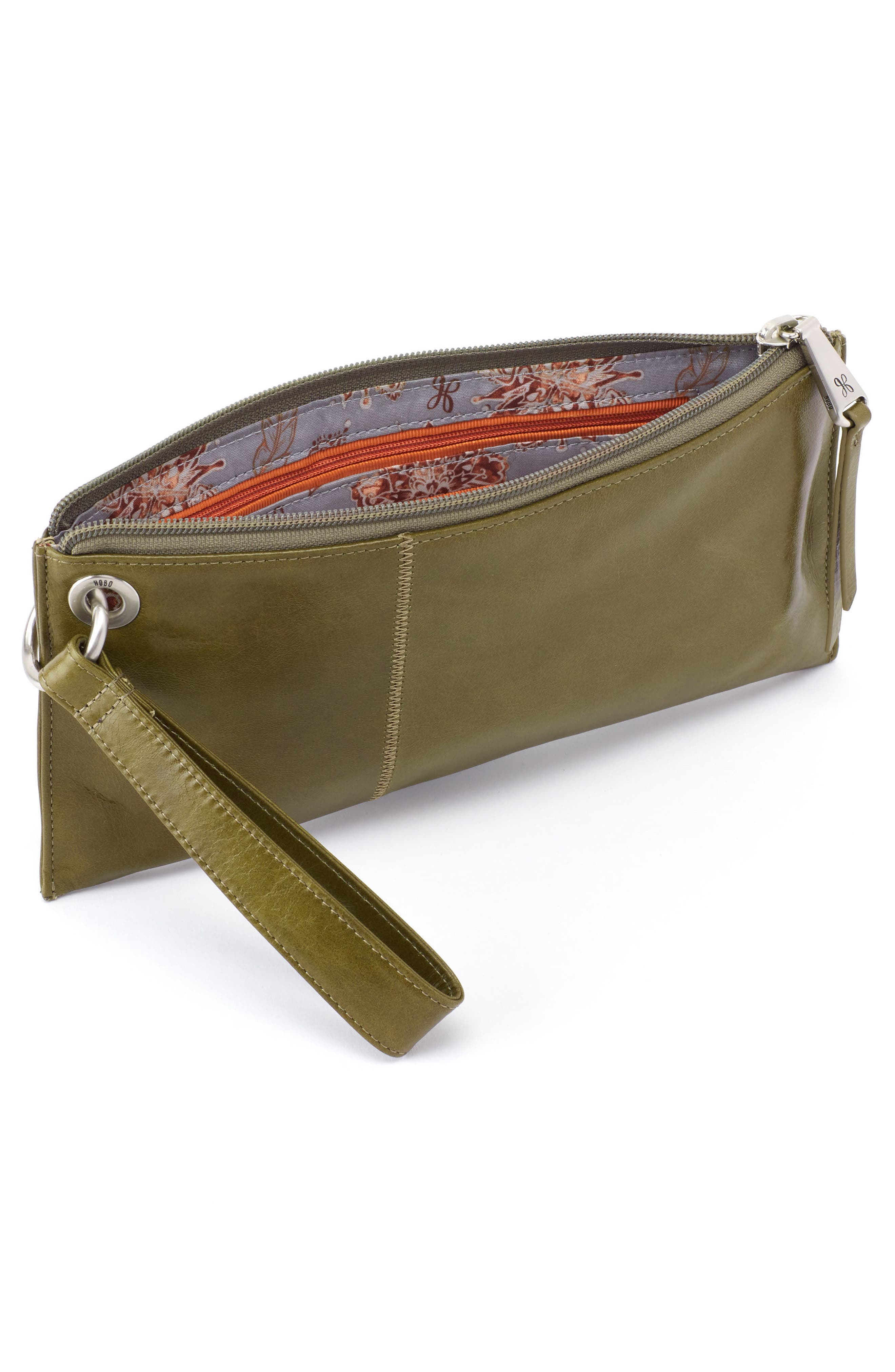 'Vida' Leather Clutch,                             Alternate thumbnail 2, color,                             Willow