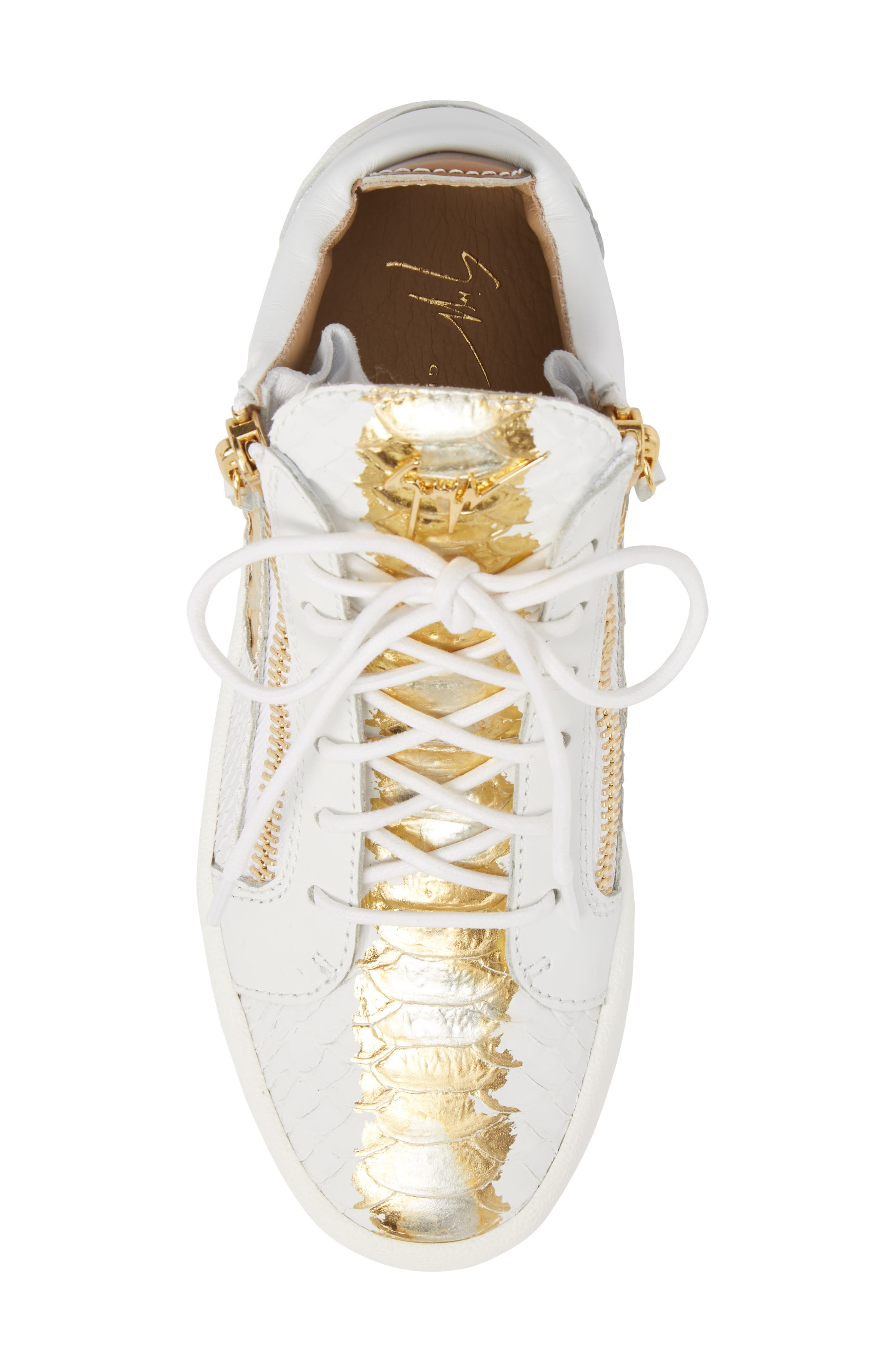 May London Mid Top Sneaker,                             Alternate thumbnail 5, color,                             White/ Gold