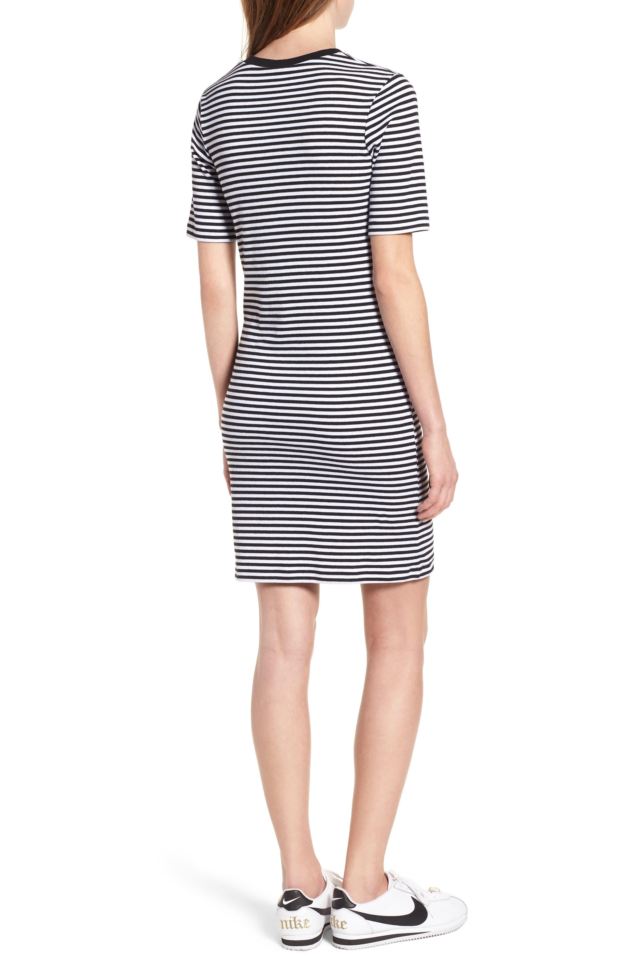 Stripe Cutout Dress,                             Alternate thumbnail 2, color,                             Black W White
