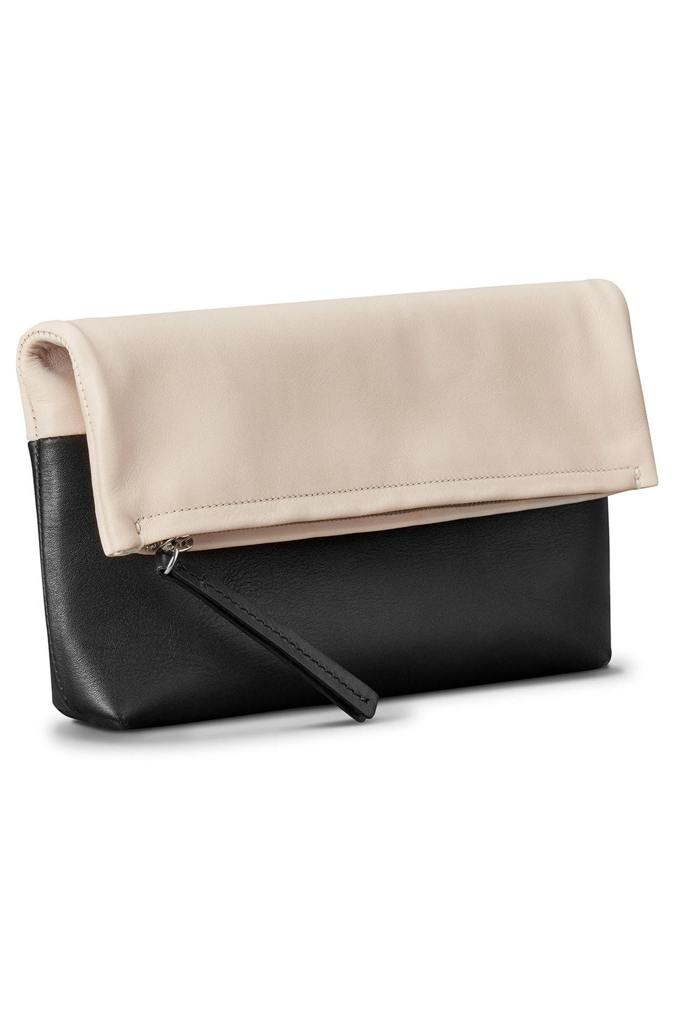 Birdy Leather Foldover Clutch,                             Alternate thumbnail 4, color,                             Soft Blush Black
