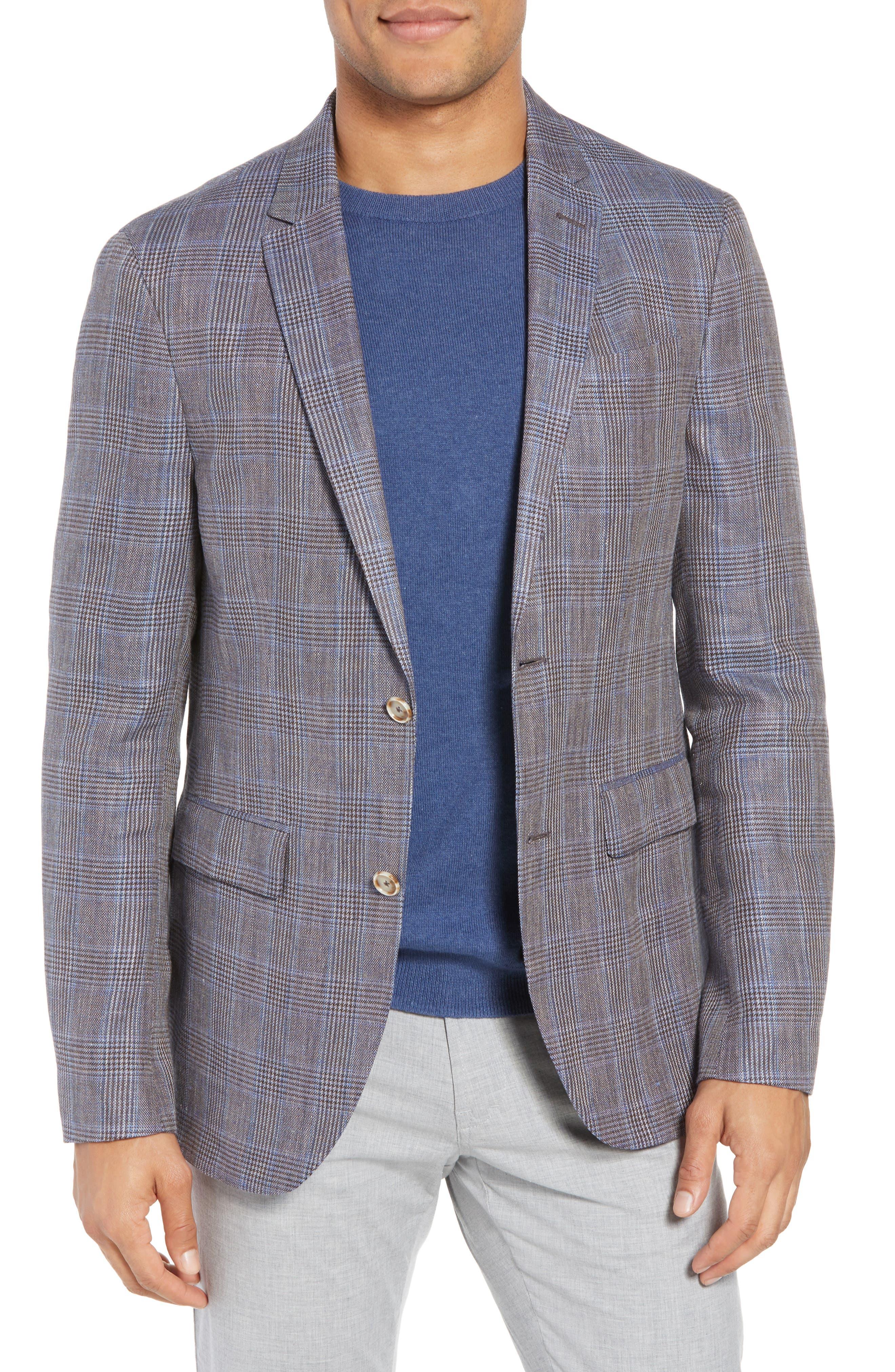 Glenn Trim Fit Plaid Linen Blend Sport Coat,                             Main thumbnail 1, color,                             Cognac