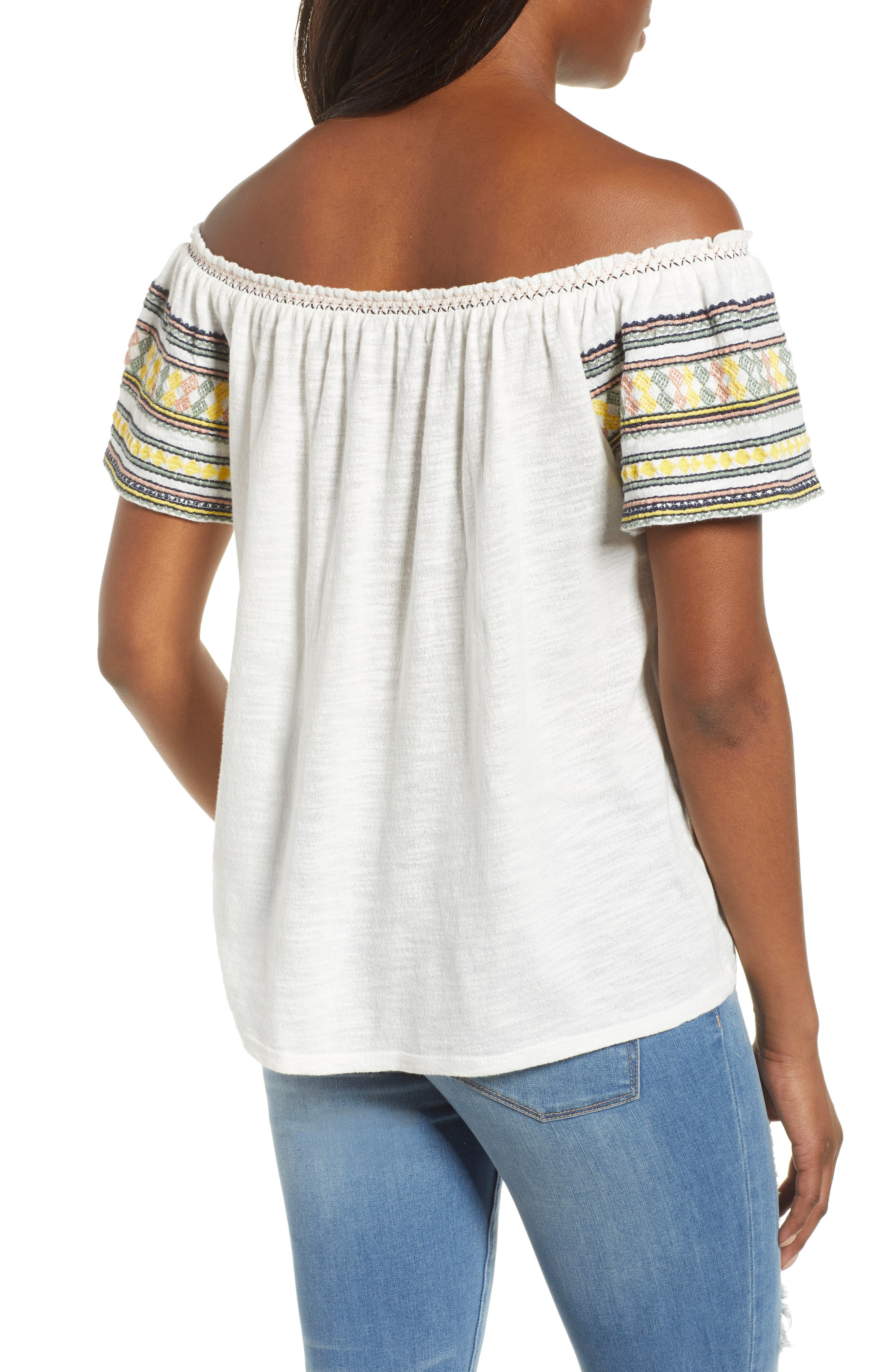 Lucky Embroidered Off The Shoulder Cotton Top,                             Alternate thumbnail 2, color,                             Marshmallow