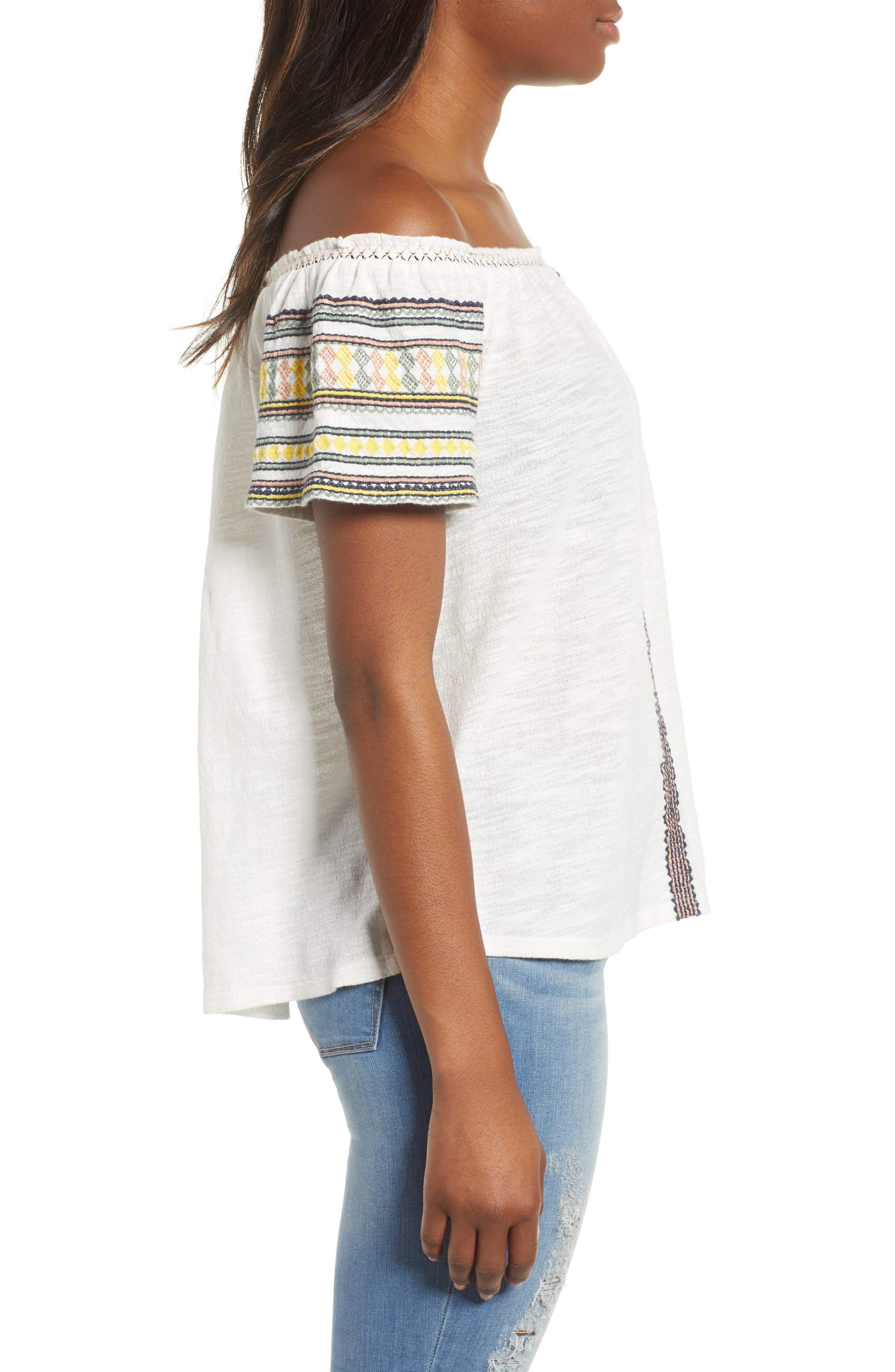 Lucky Embroidered Off The Shoulder Cotton Top,                             Alternate thumbnail 3, color,                             Marshmallow