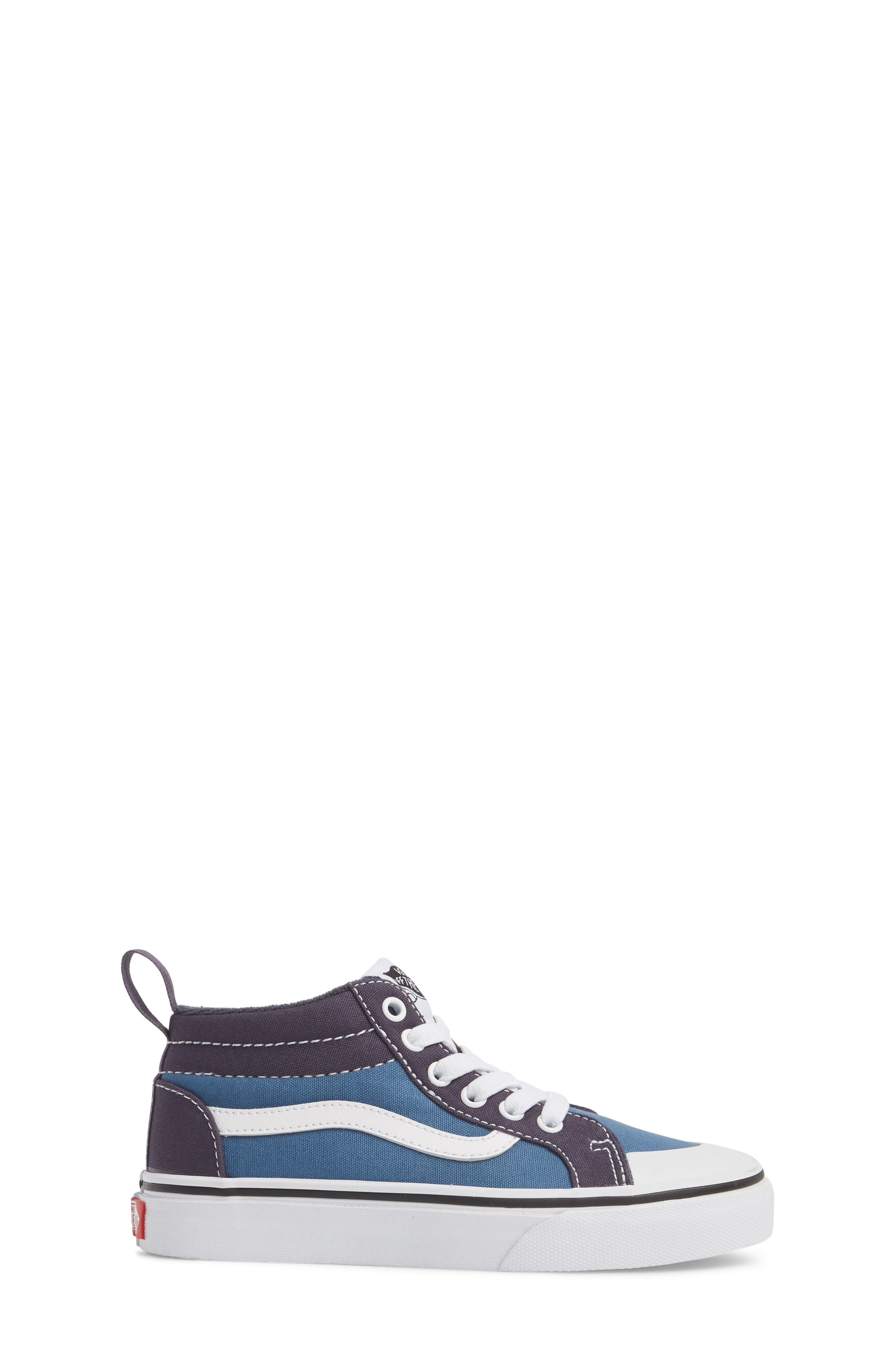 Racer Mid Elastic Lace Sneaker,                             Alternate thumbnail 3, color,                             Navy/ Navy