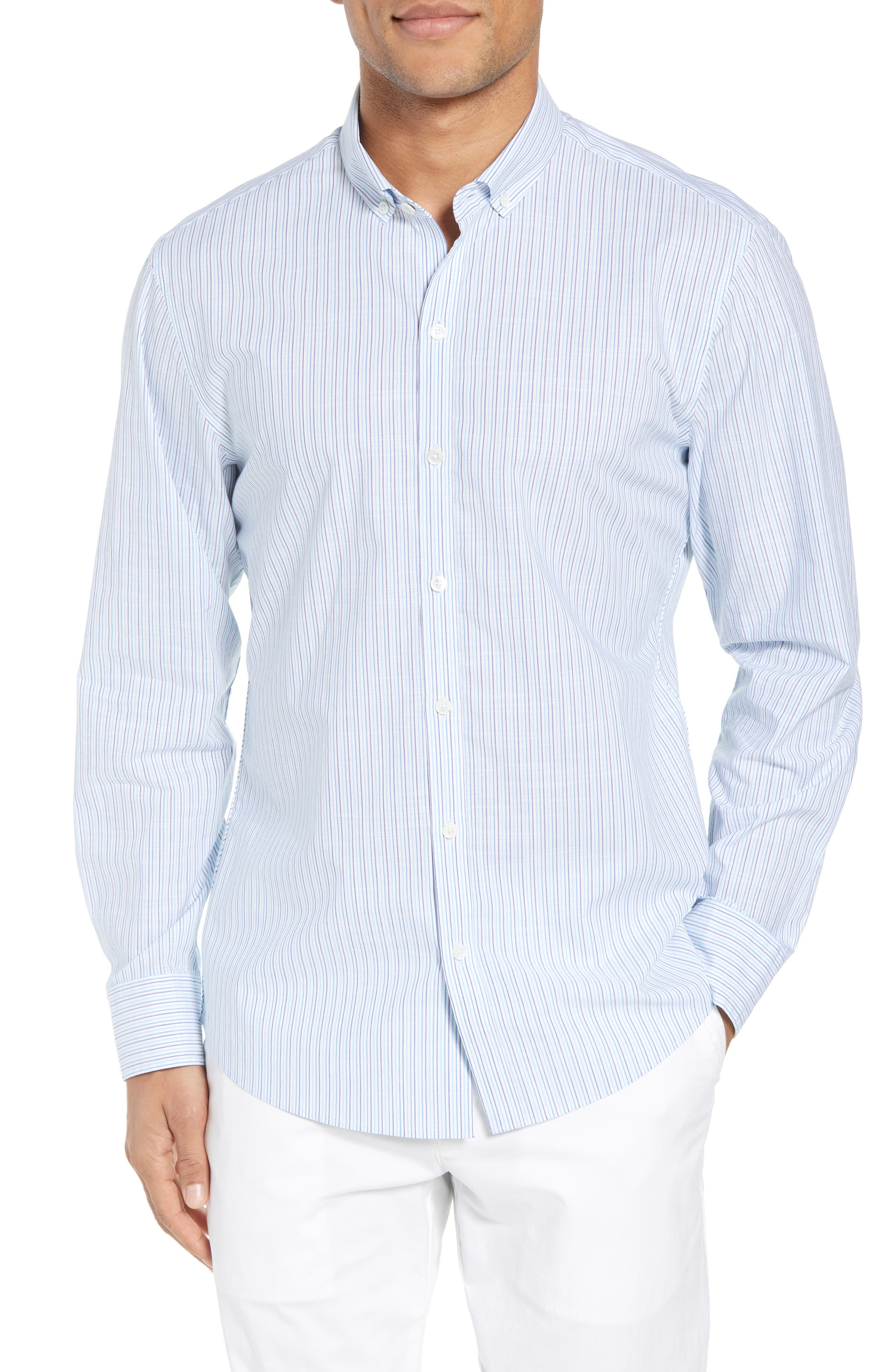 Skeeter Stripe Sport Shirt,                         Main,                         color, Aqua