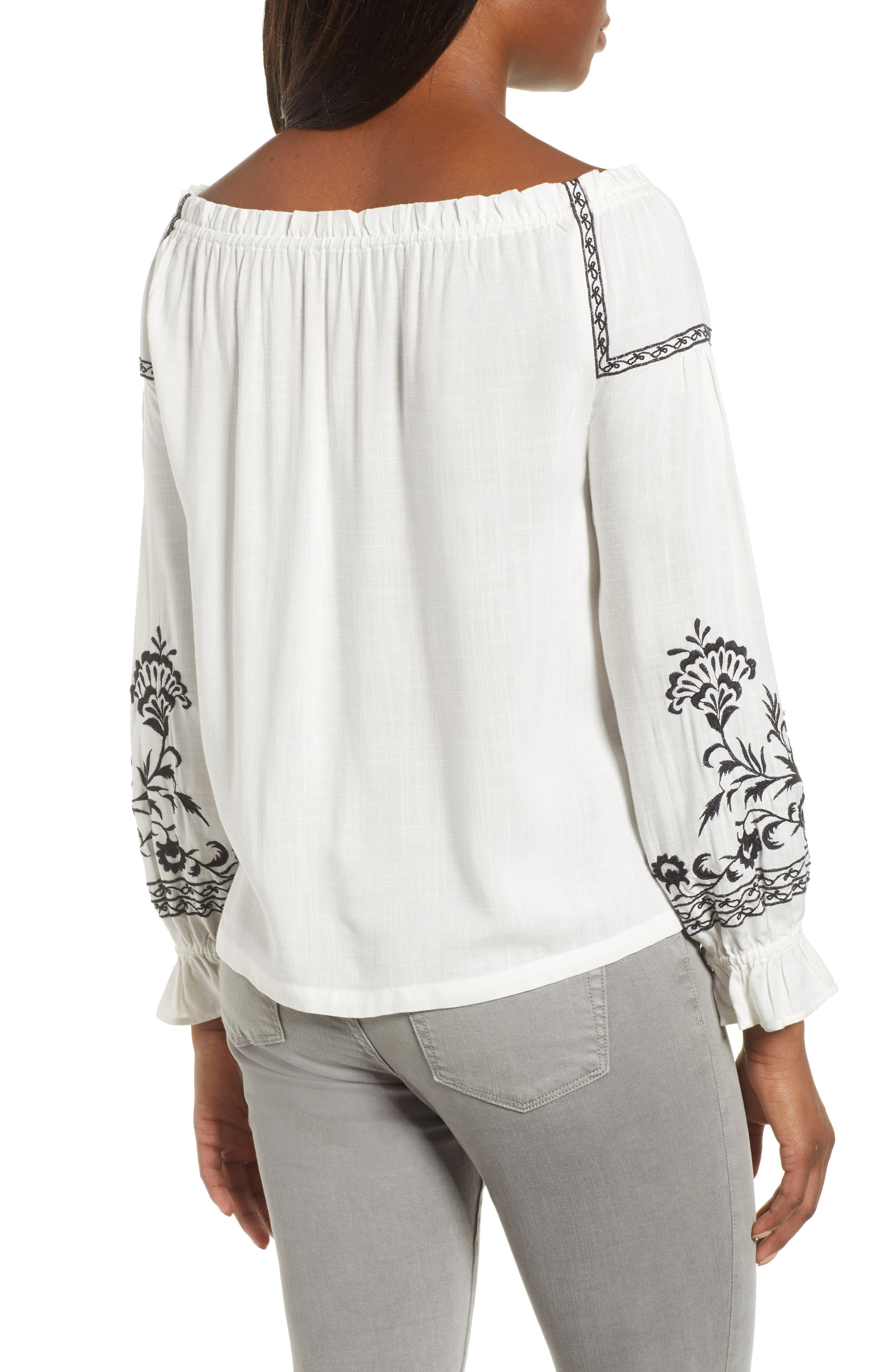 Embroidered Peasant Top,                             Alternate thumbnail 2, color,                             White Multi