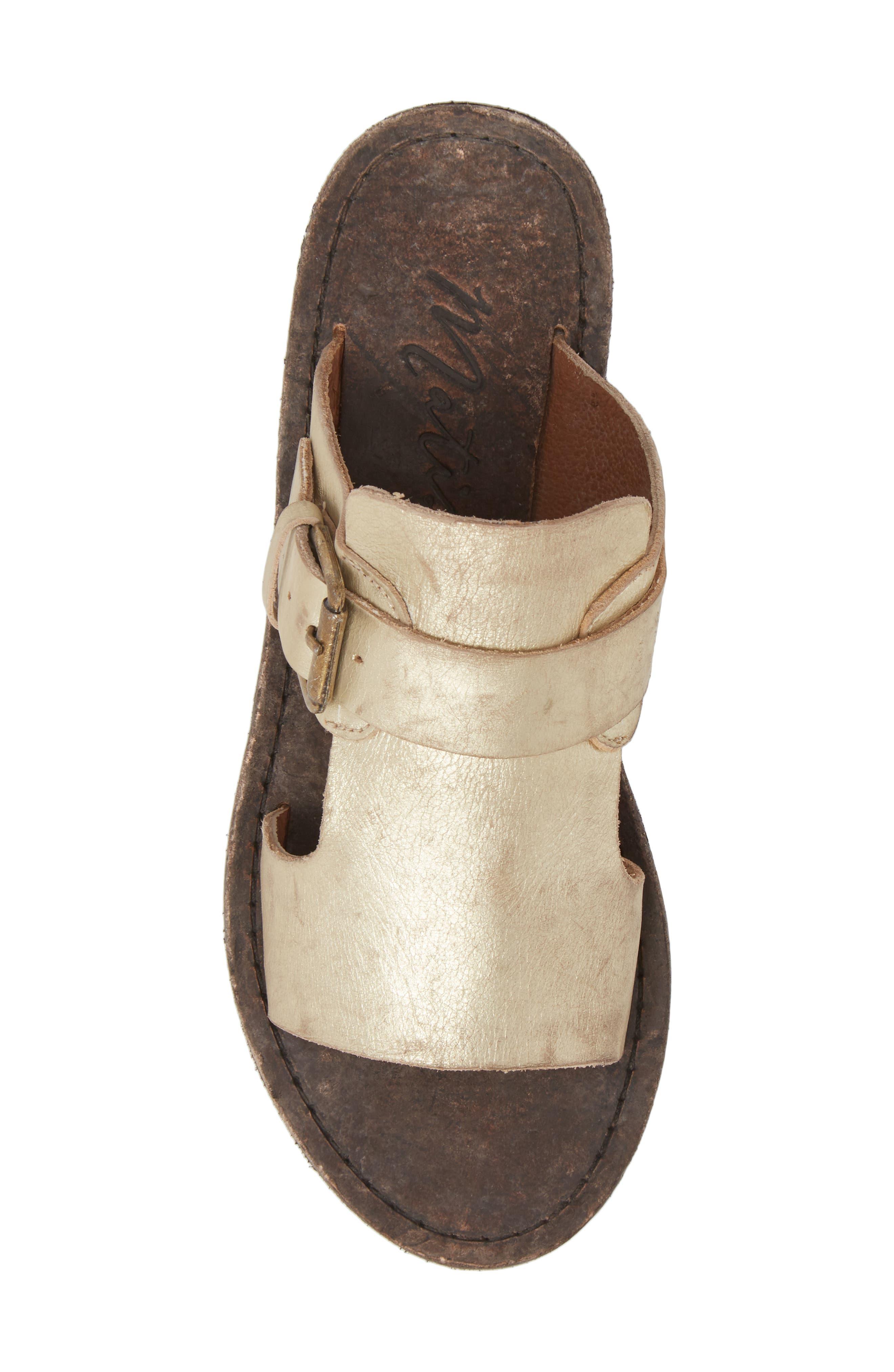 Abbie Slide Sandal,                             Alternate thumbnail 5, color,                             Gold Leather