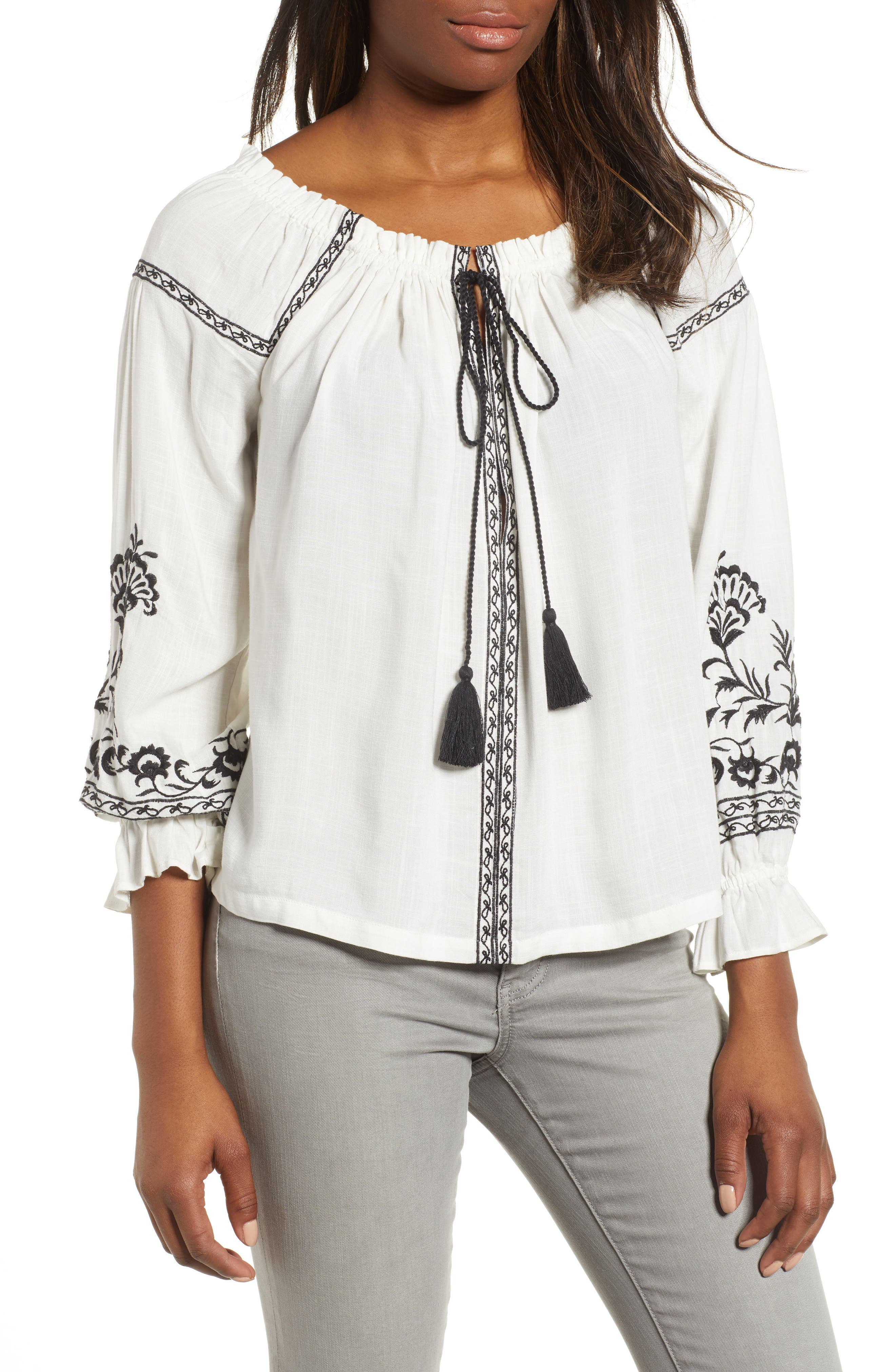 Embroidered Peasant Top,                             Main thumbnail 1, color,                             White Multi
