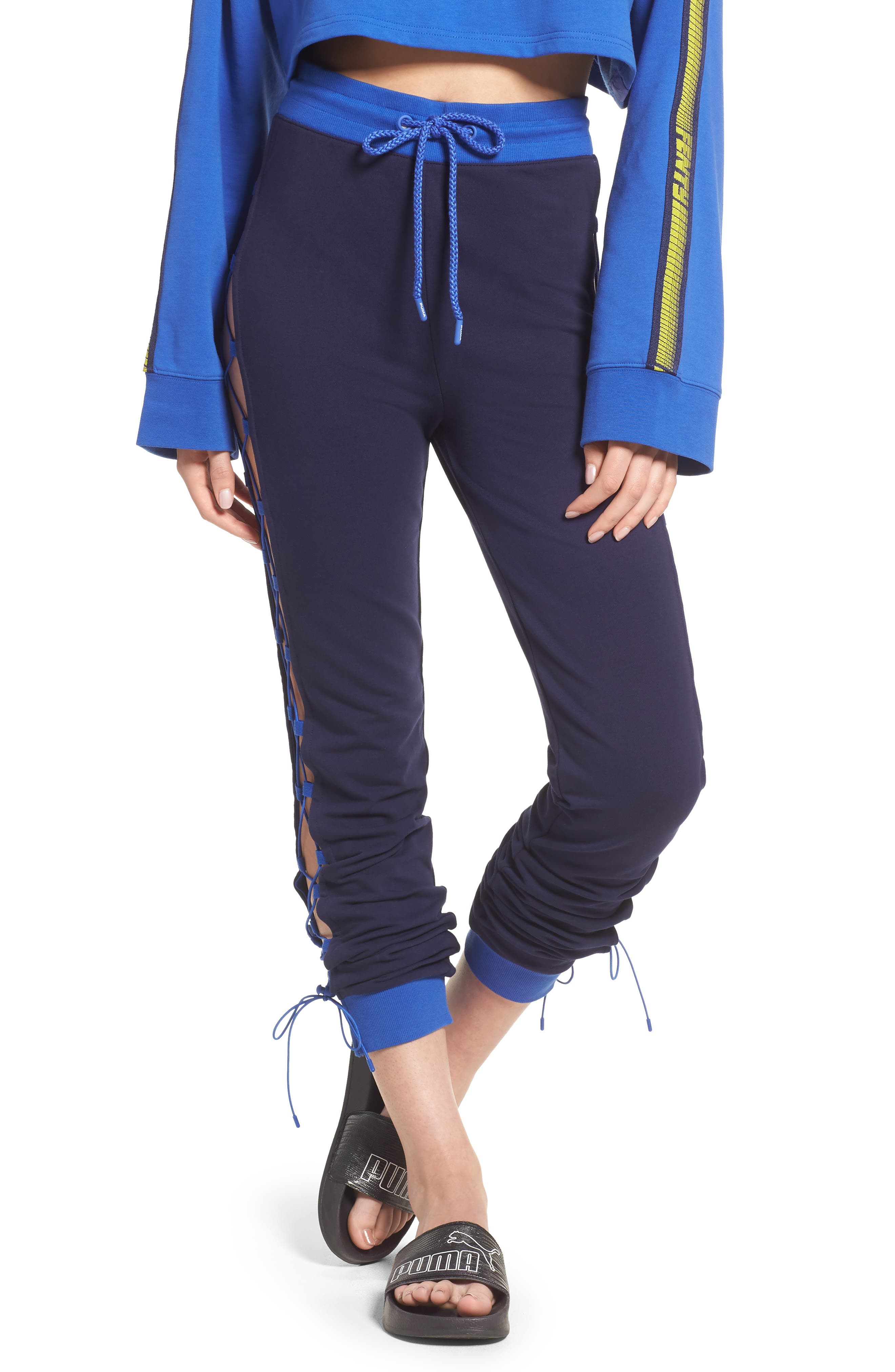 FENTY PUMA by Rihanna Lace-Up Sweatpants,                             Main thumbnail 1, color,                             Evening Blue