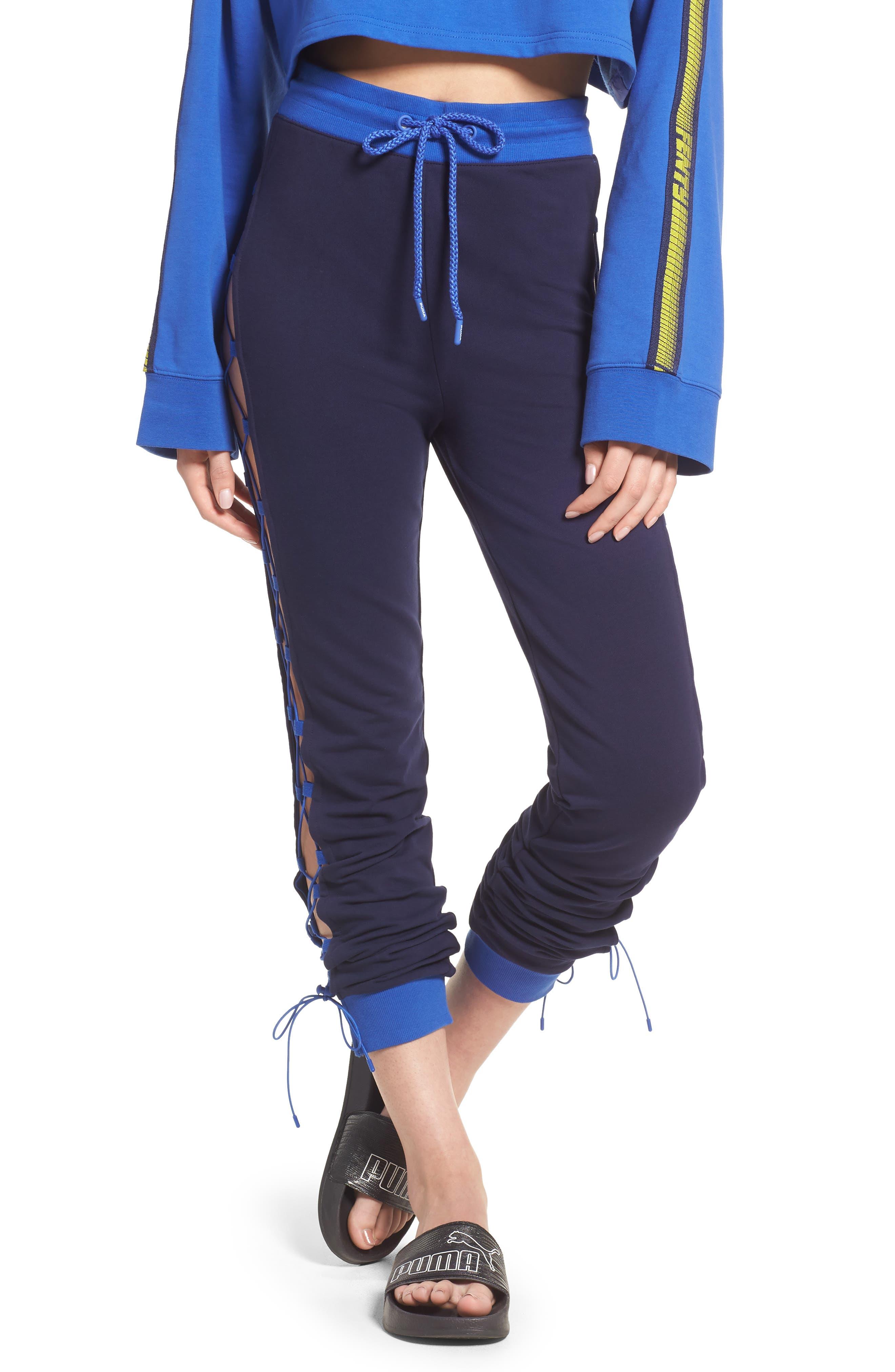 FENTY PUMA by Rihanna Lace-Up Sweatpants,                         Main,                         color, Evening Blue