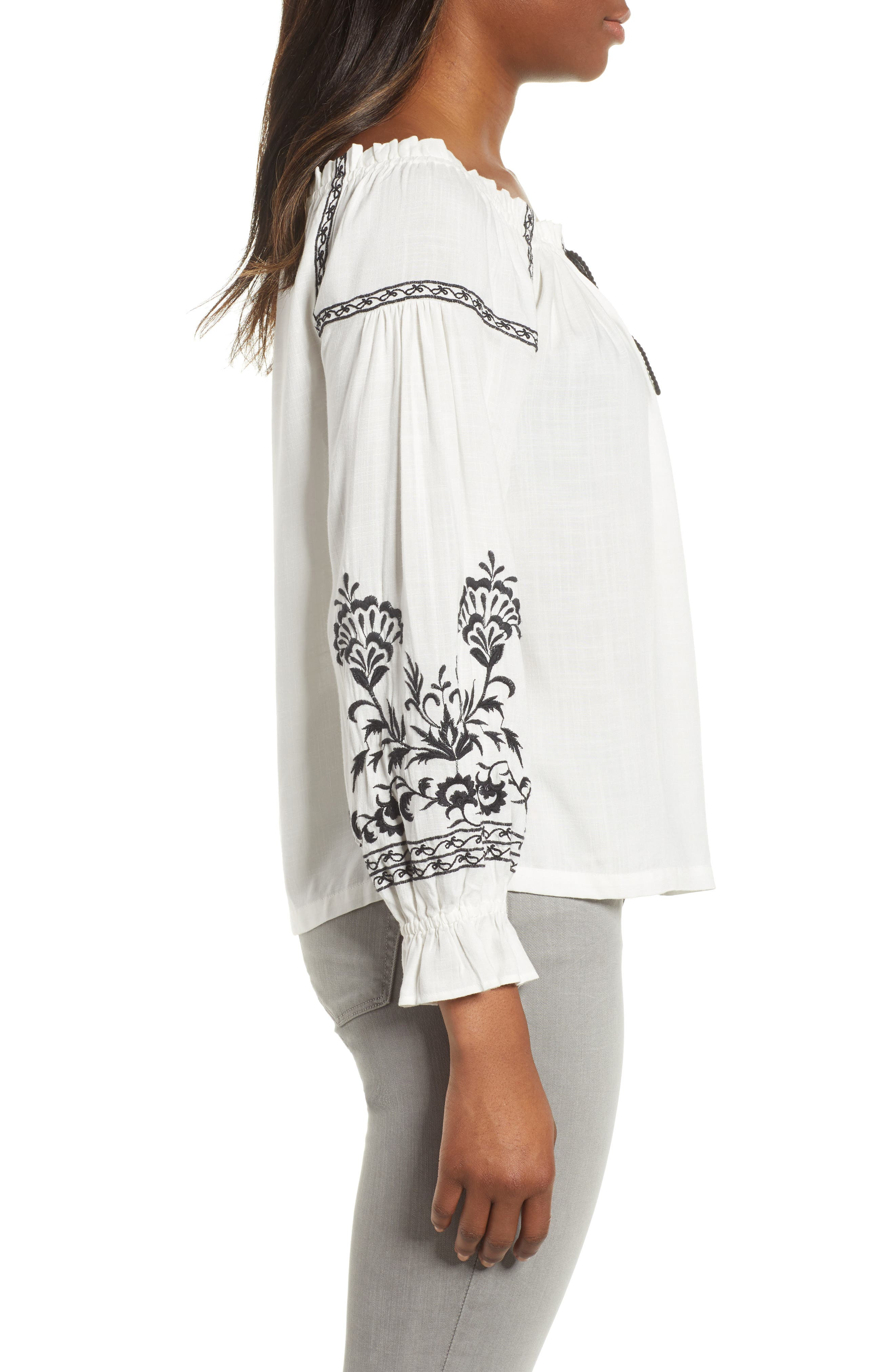 Embroidered Peasant Top,                             Alternate thumbnail 3, color,                             White Multi