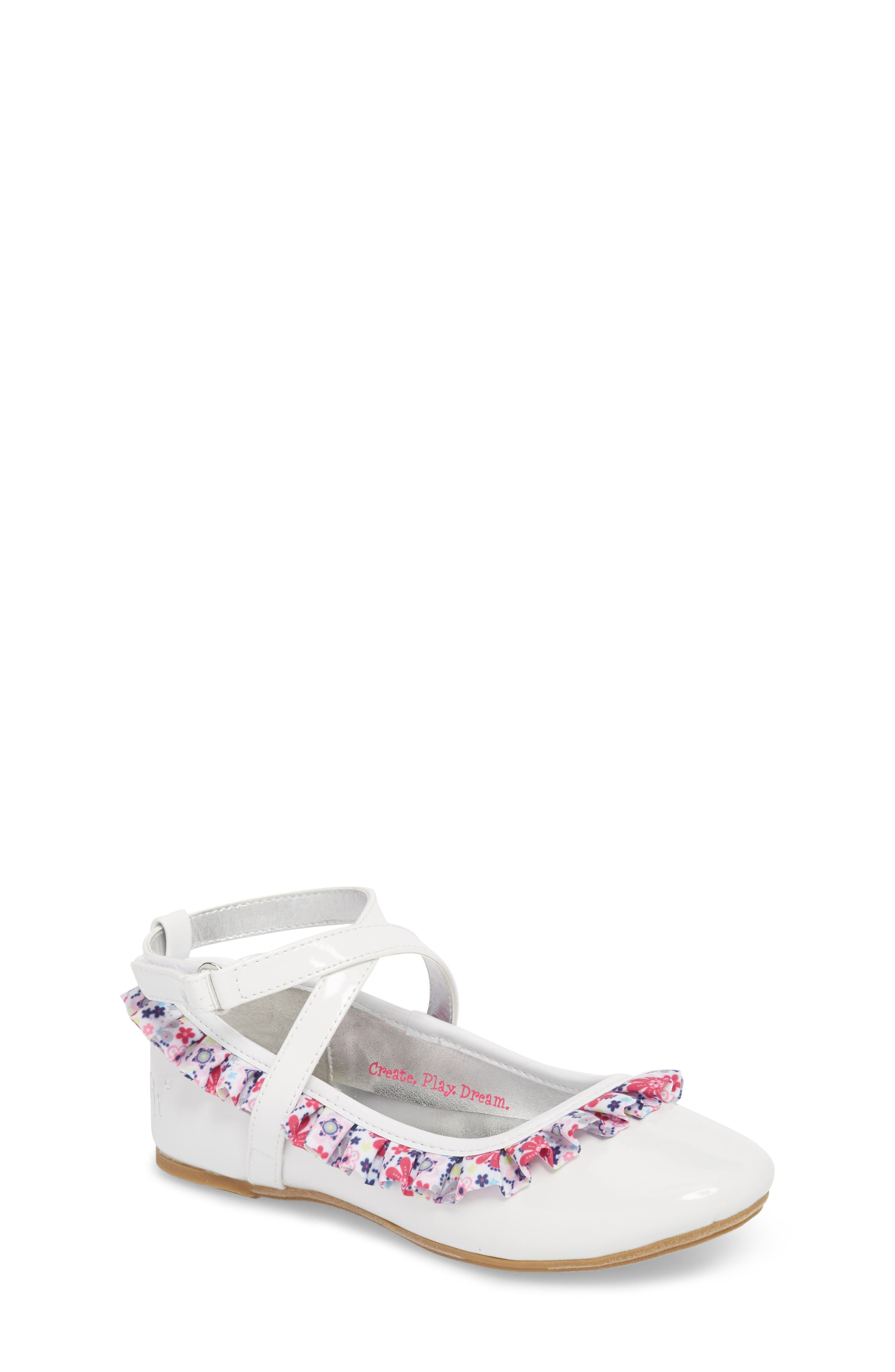 Kendall Ruffle Ballet Flat,                         Main,                         color, White