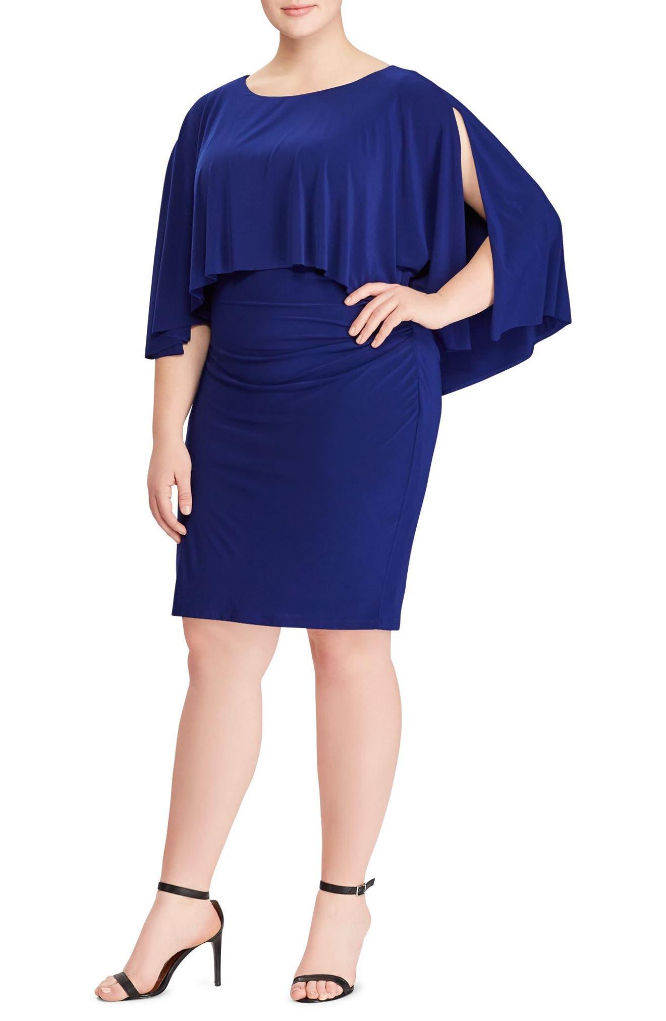 Abriella Cape Sheath Dress,                             Main thumbnail 1, color,                             Rich Sapphire