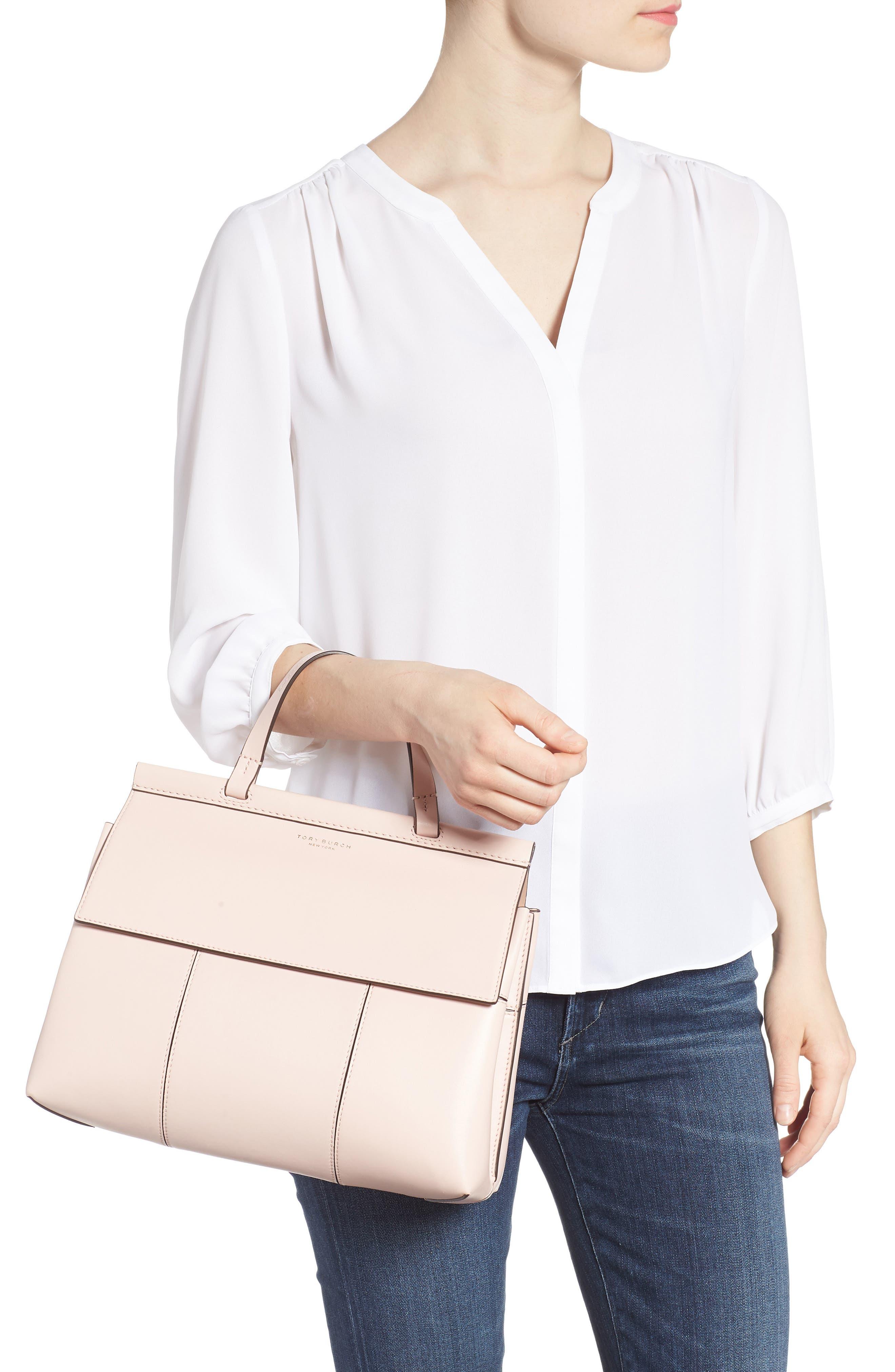 Block T Leather Top Handle Satchel,                             Alternate thumbnail 2, color,                             Shell Pink/ Goan Sand