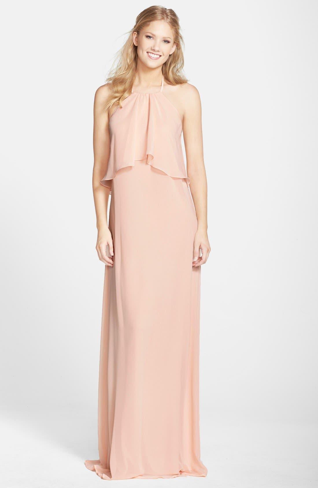 nouvelle AMSALE 'Cait' Chiffon Halter Gown