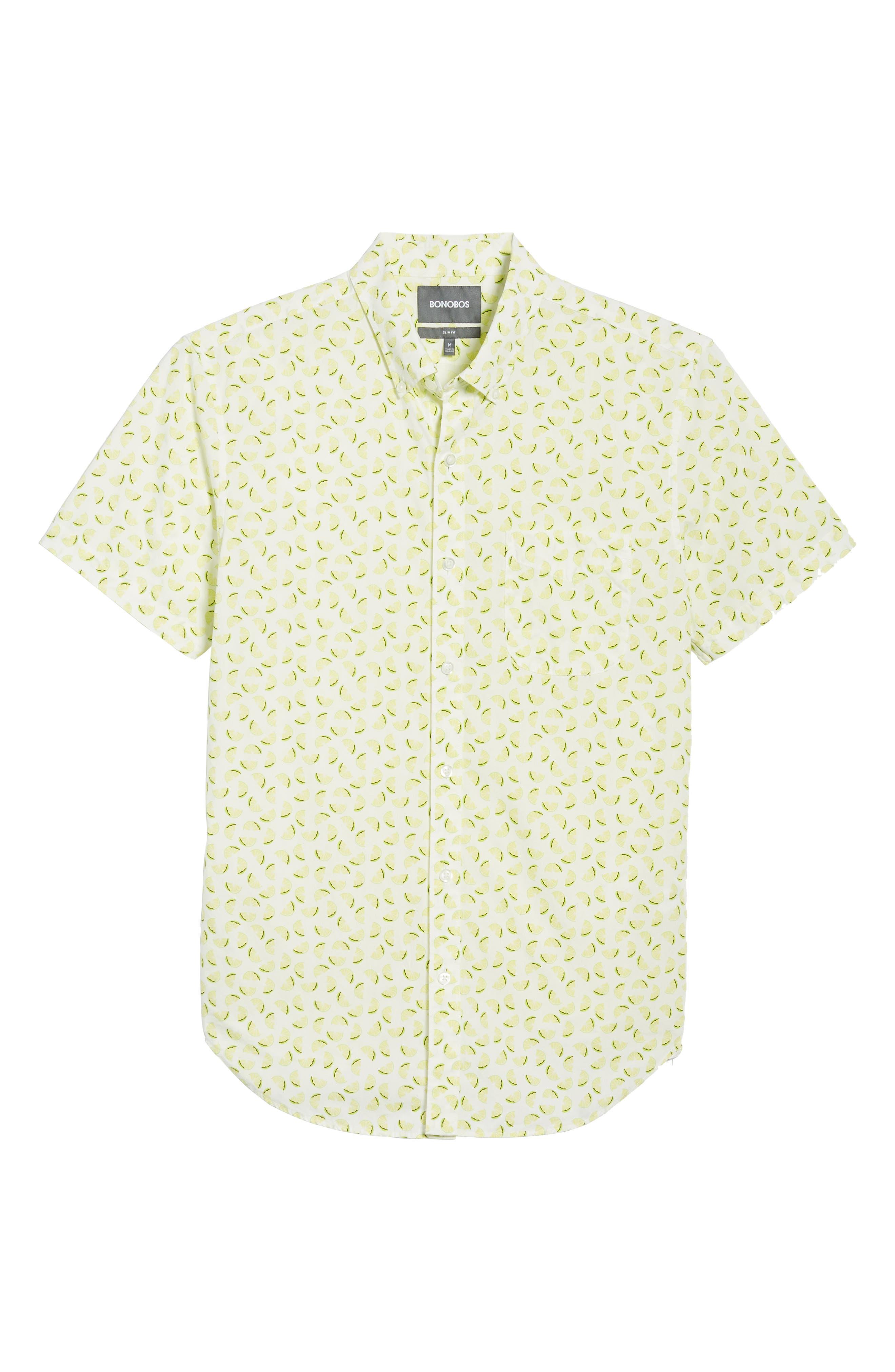 Slim Fit Citrus Print Sport Shirt,                             Alternate thumbnail 6, color,                             Lemon Toss - Acid Lime