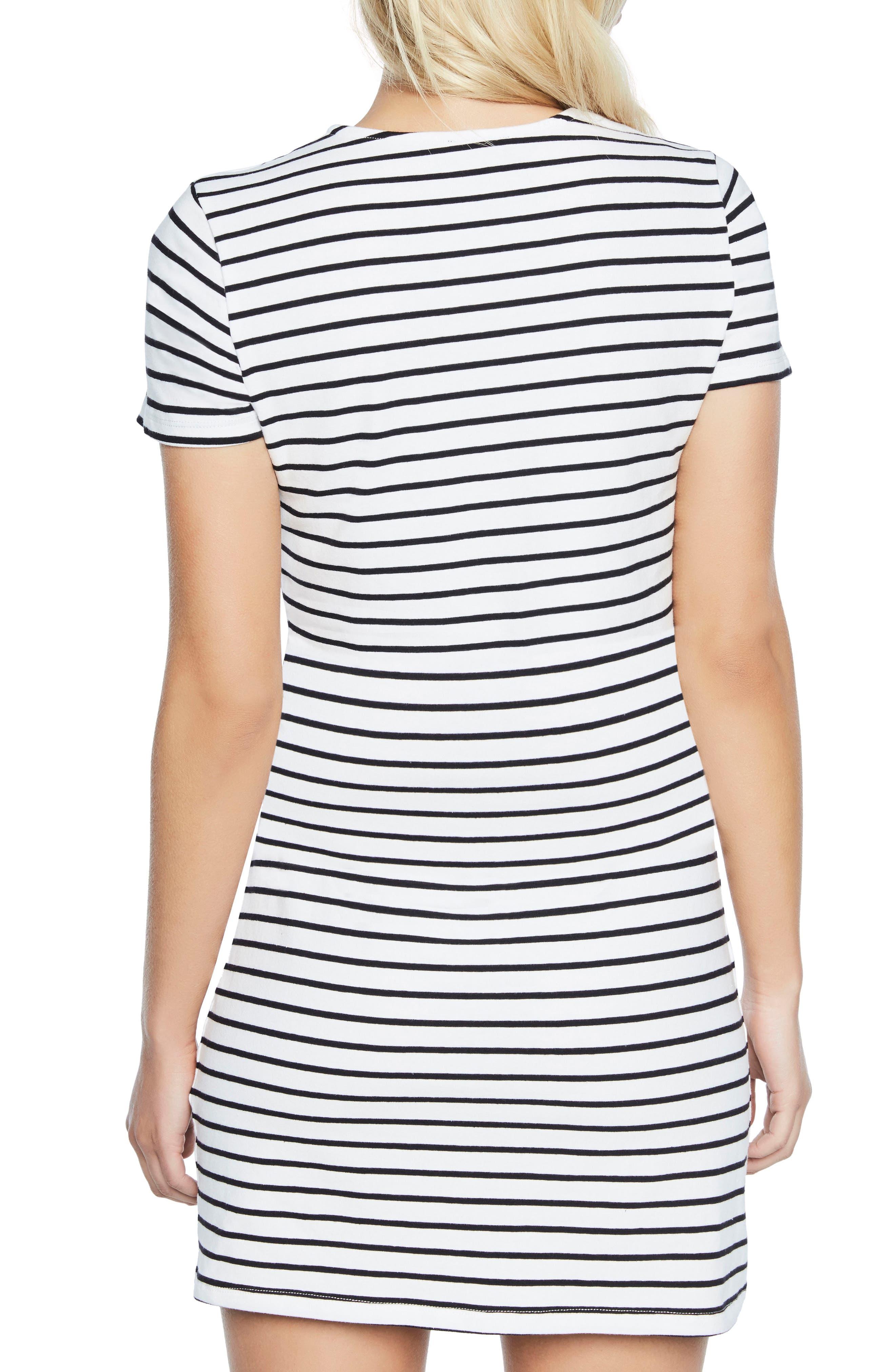 Stripe Shift Dress,                             Alternate thumbnail 2, color,                             Black/ White Stripe