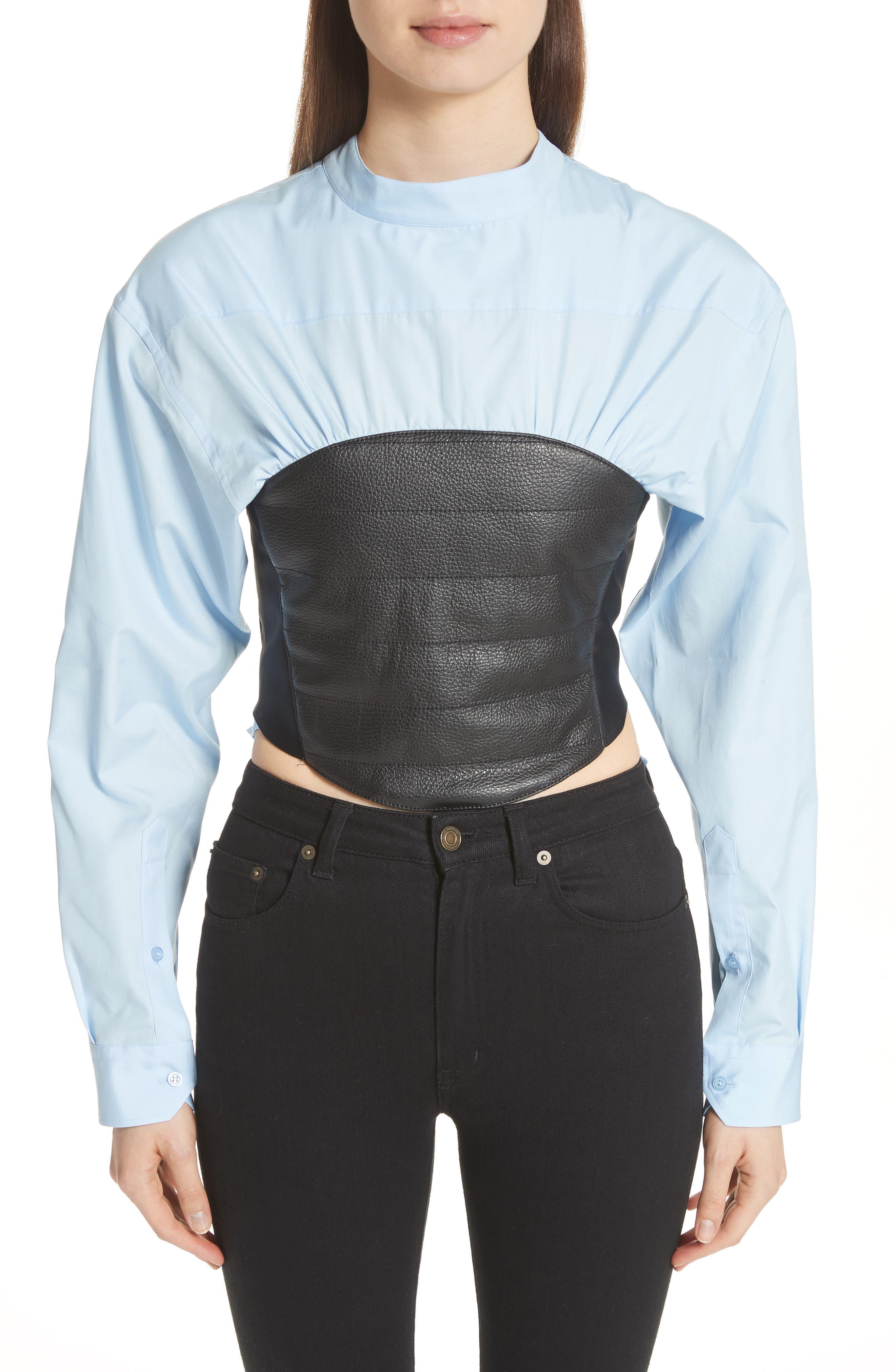 Bustier Shirt,                             Main thumbnail 1, color,                             Blue/ Black Bustier