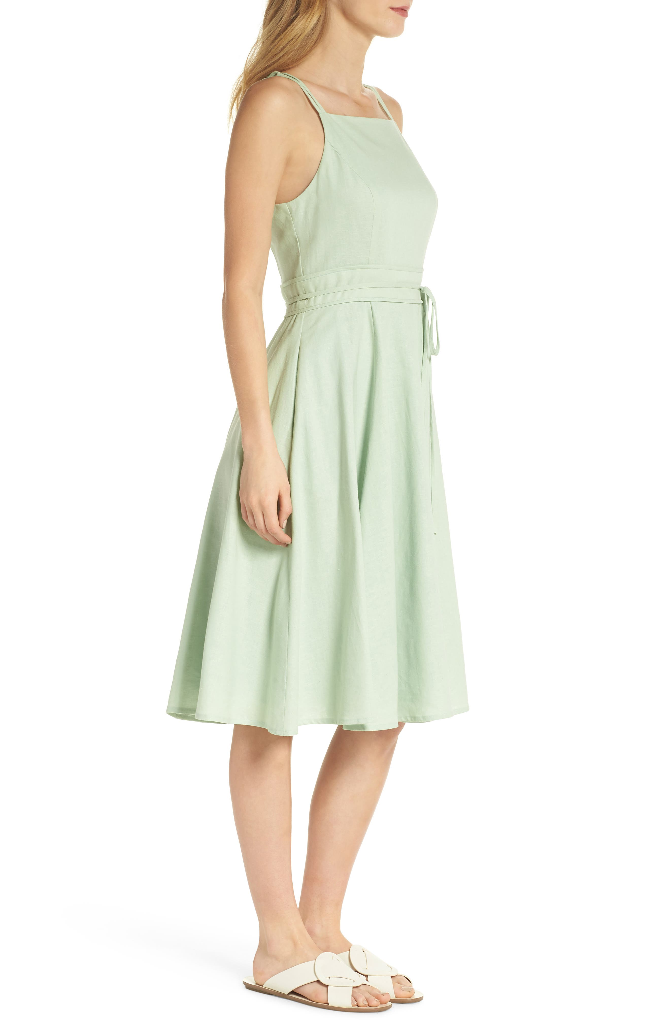 Caroline Linen Blend Fit & Flare Dress,                             Alternate thumbnail 4, color,                             Mint Leaf