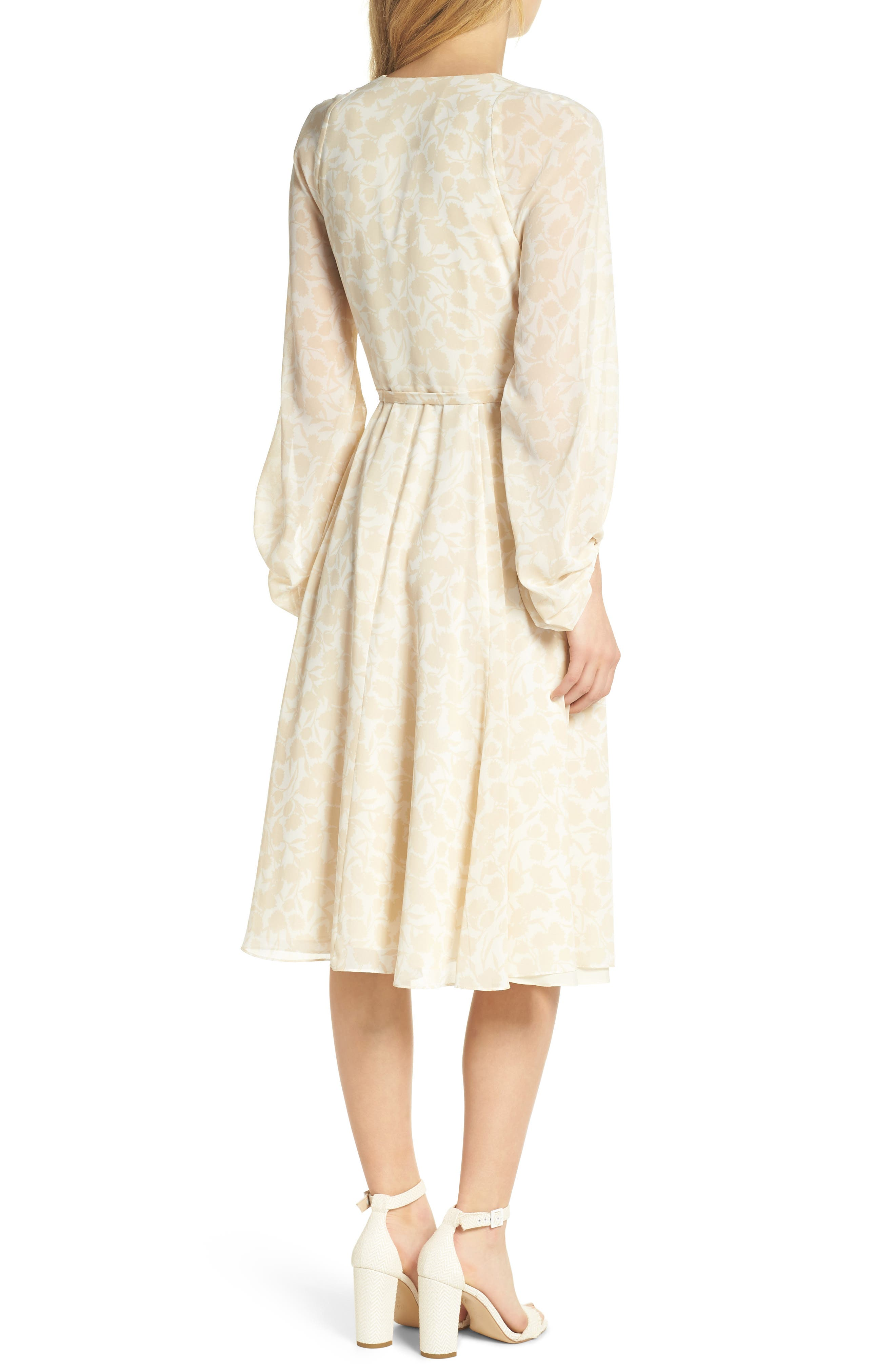 Esther Shadow Branch Chiffon Dress,                             Alternate thumbnail 3, color,                             Cream Combo