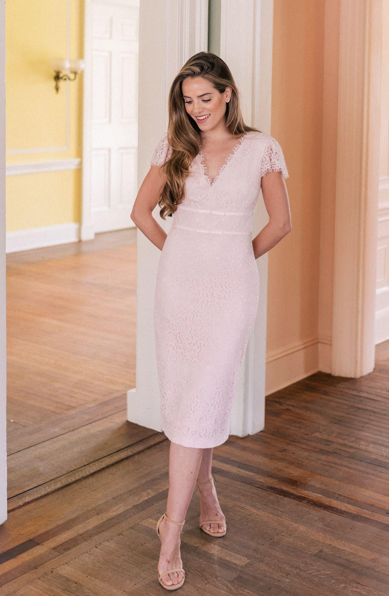Ginger Rosebud Lace Sheath Dress,                             Alternate thumbnail 2, color,                             Blush