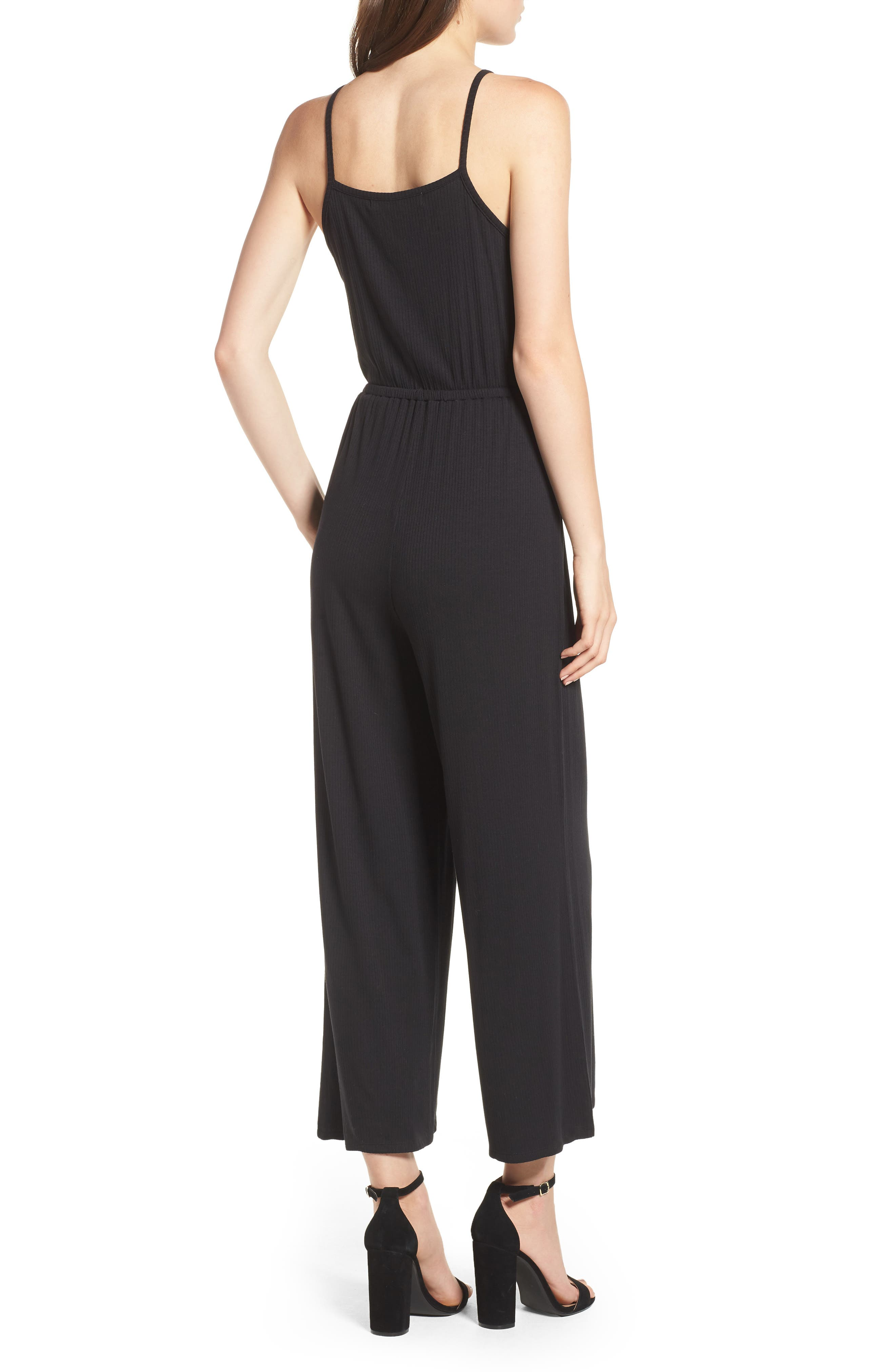 Macall Rib Knit Wide Leg Jumpsuit,                             Alternate thumbnail 2, color,                             Black