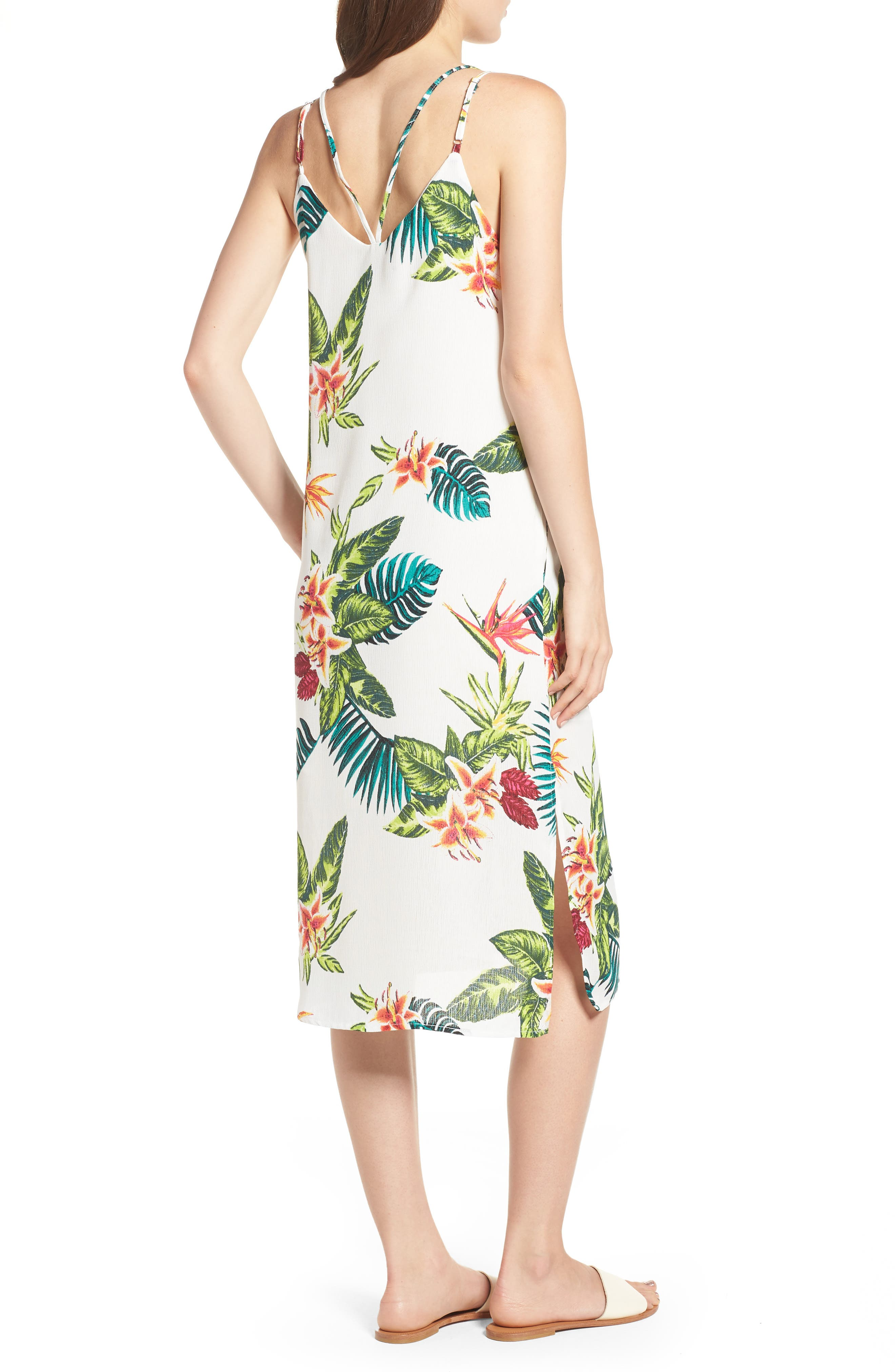 Strappy Floral Print Midi Dress,                             Alternate thumbnail 2, color,                             Cream/ Fuchsia