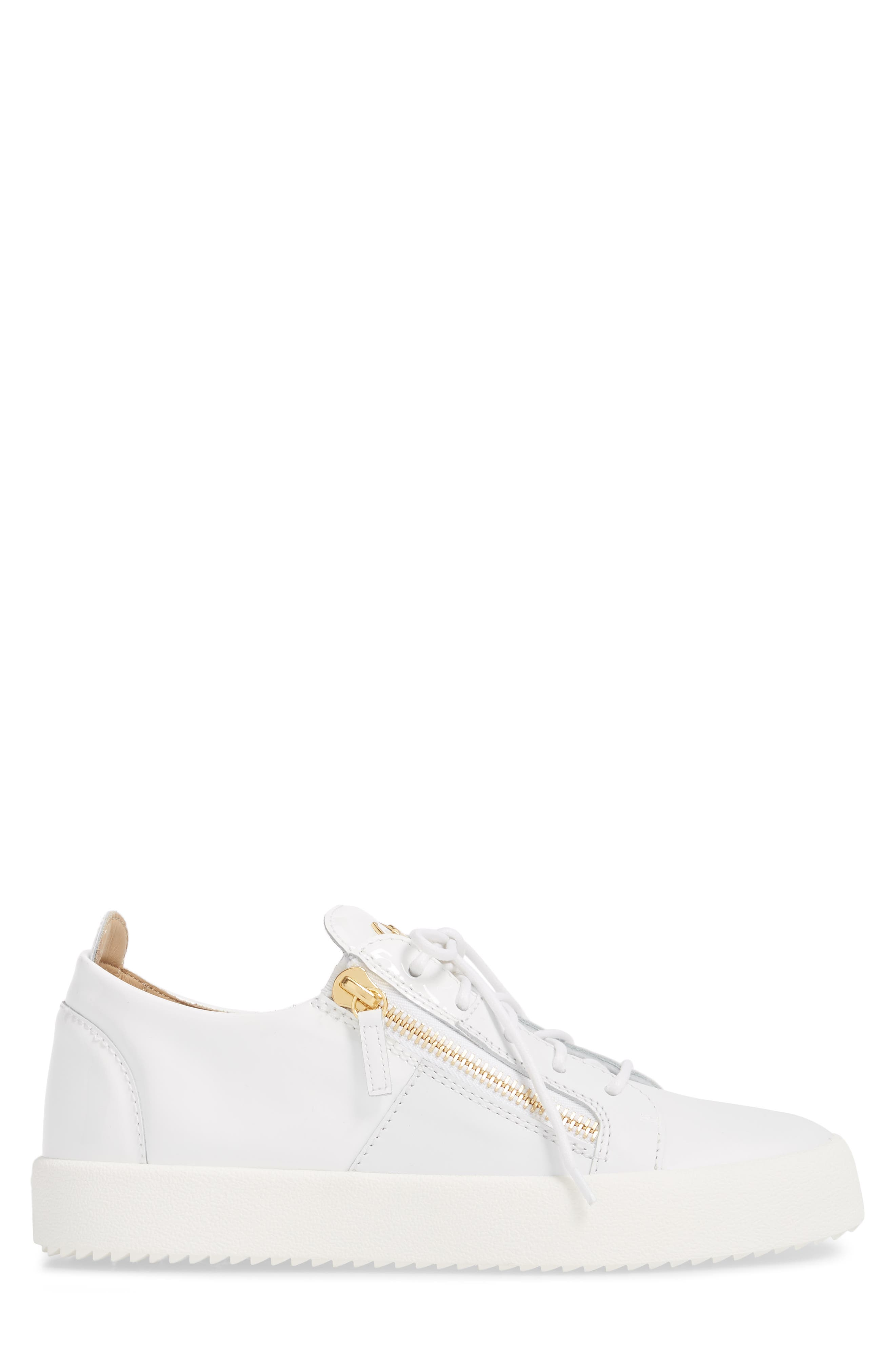 Colorblocked Zip Sneaker,                             Alternate thumbnail 3, color,                             Bianco