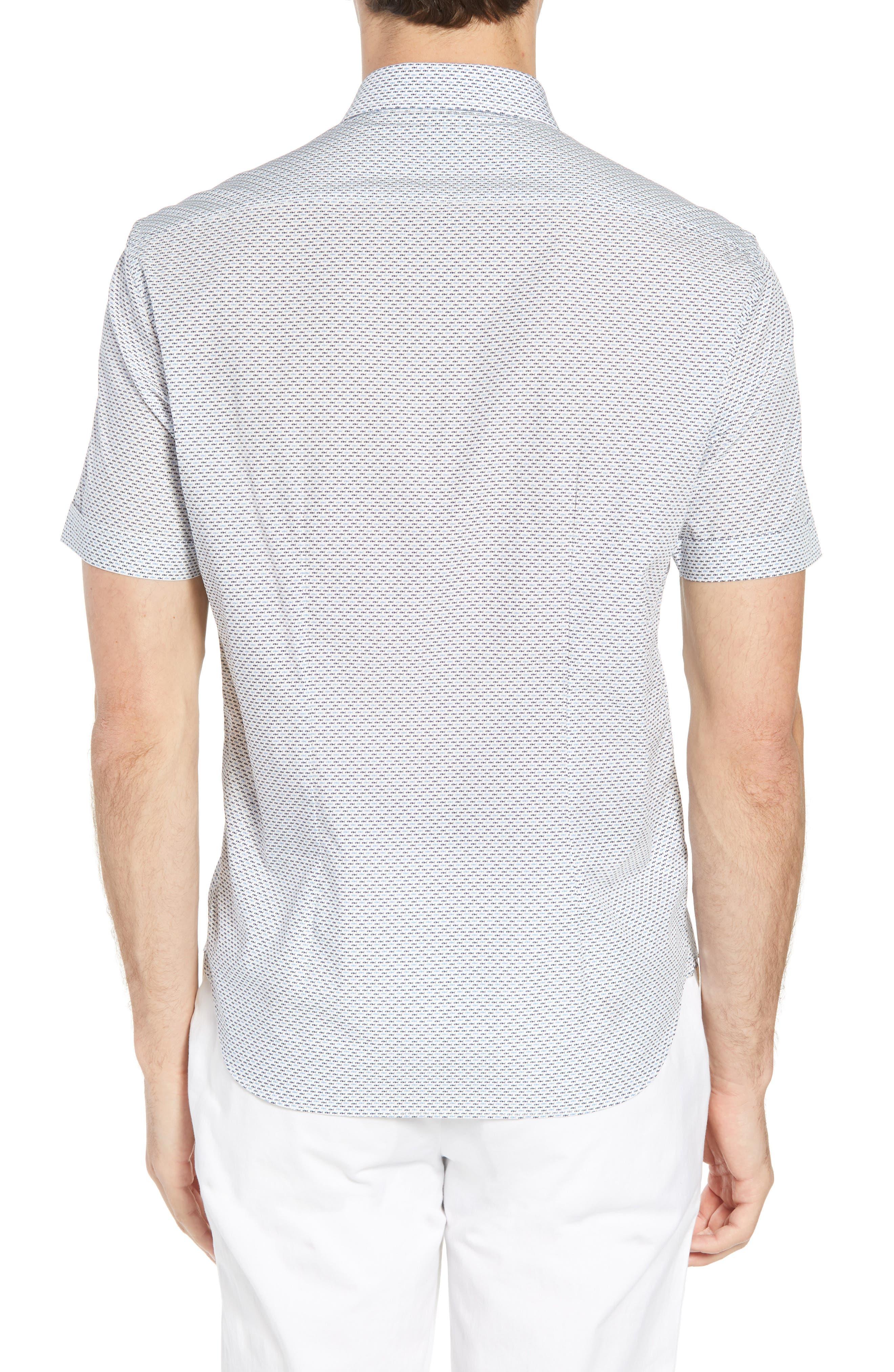 Trim Fit Fish Print Sport Shirt,                             Alternate thumbnail 3, color,                             White