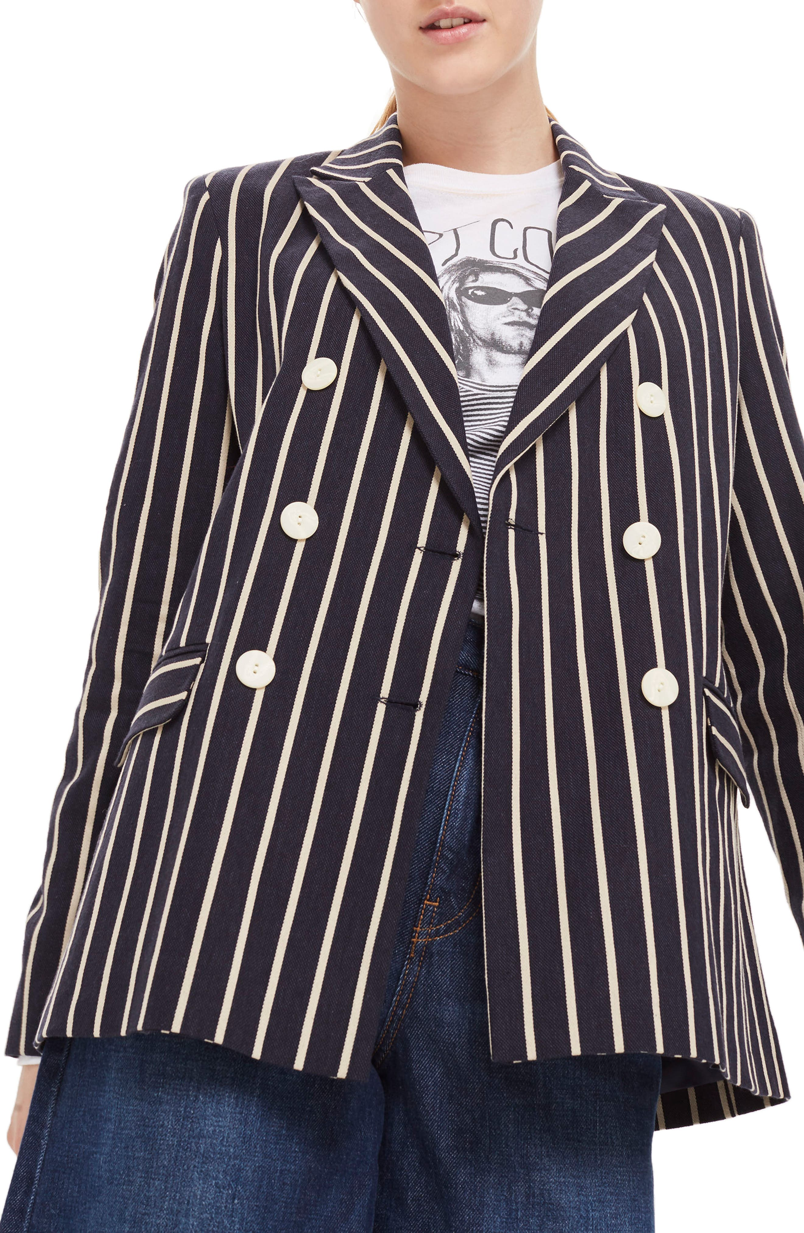 Stripe Double Breasted Jacket,                         Main,                         color, Navy Blue