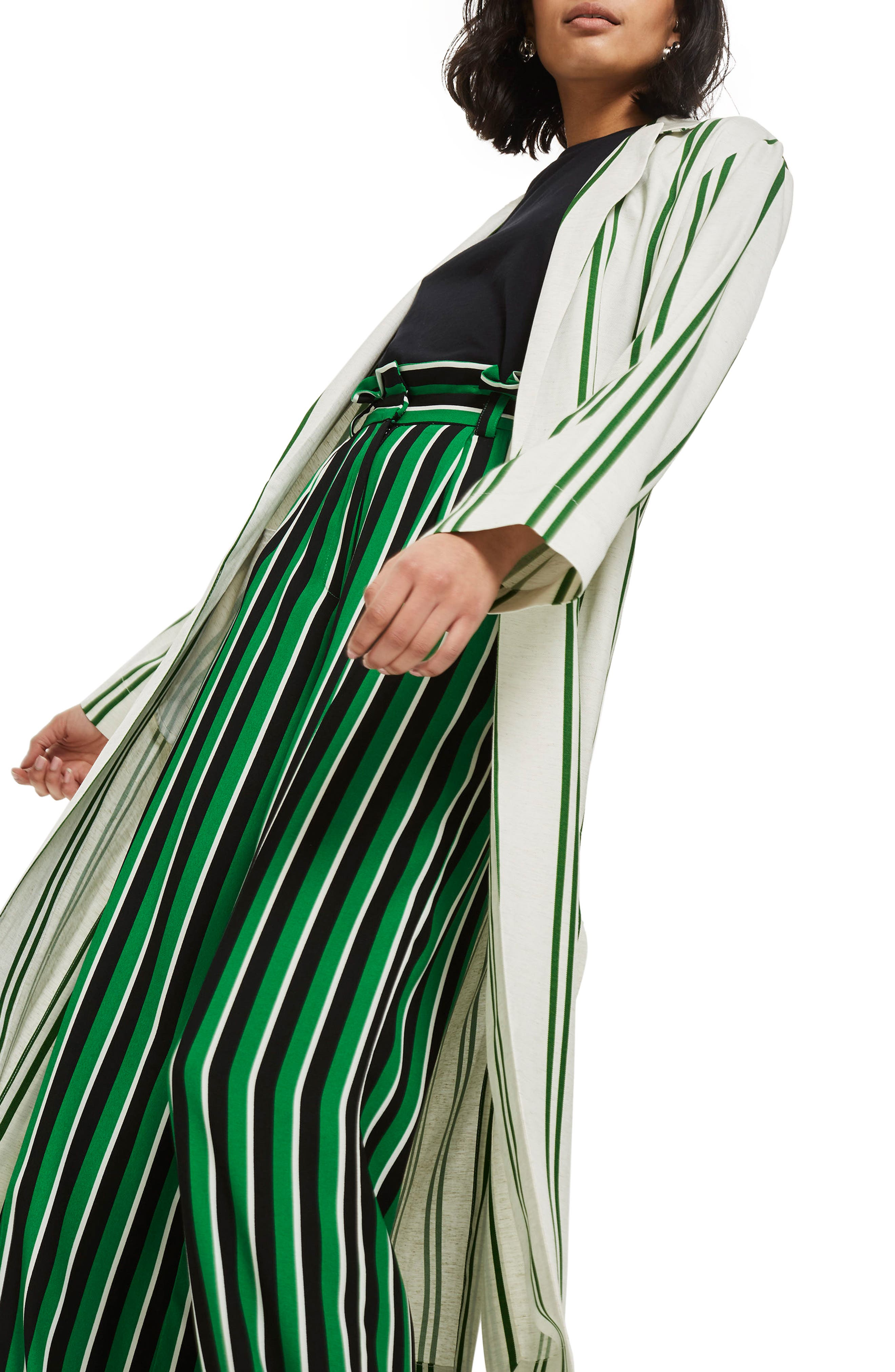 Slub Stripe Duster Coat,                             Main thumbnail 1, color,                             Green Multi