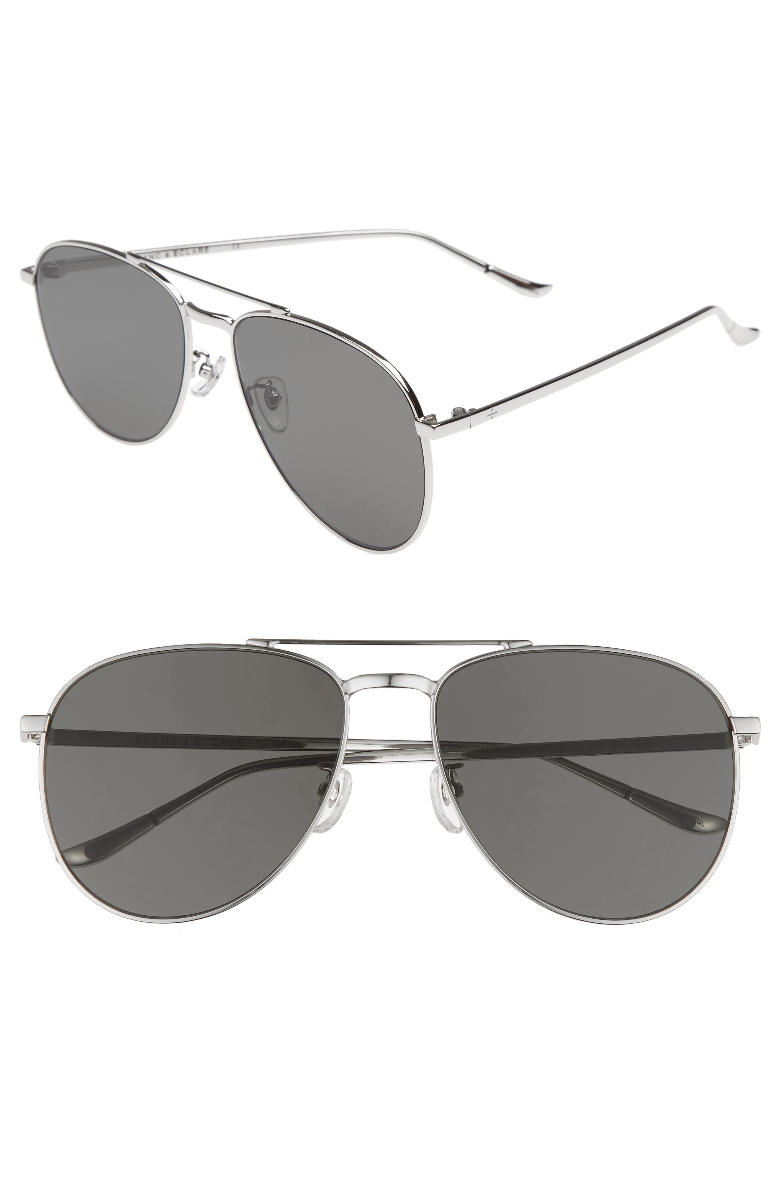 BLANC & ECLARE Miami 61mm Large Polarized Aviator Sunglasses,                         Main,                         color, Silver/ Grey