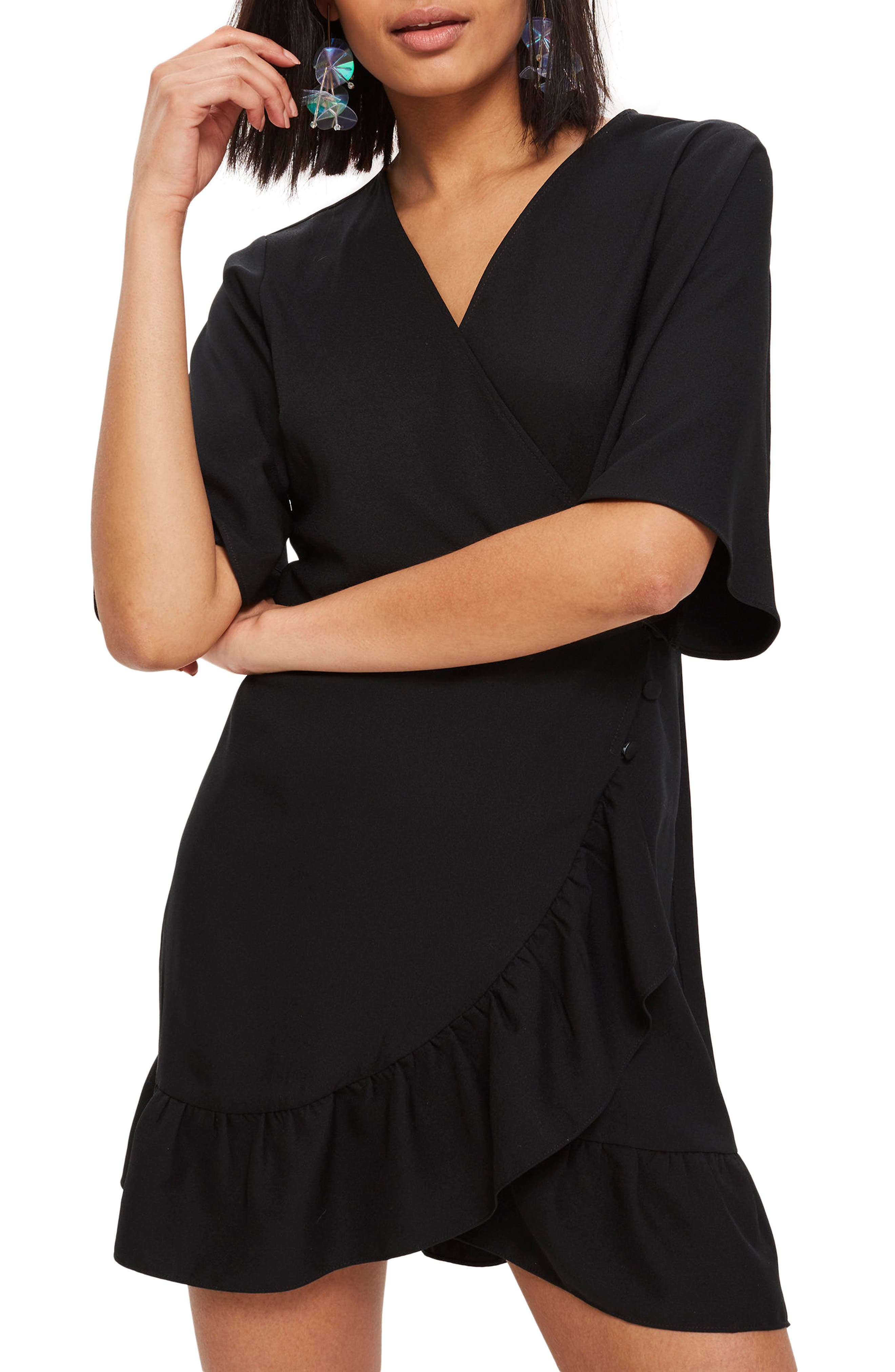 Ruffle Minidress,                             Main thumbnail 1, color,                             Black