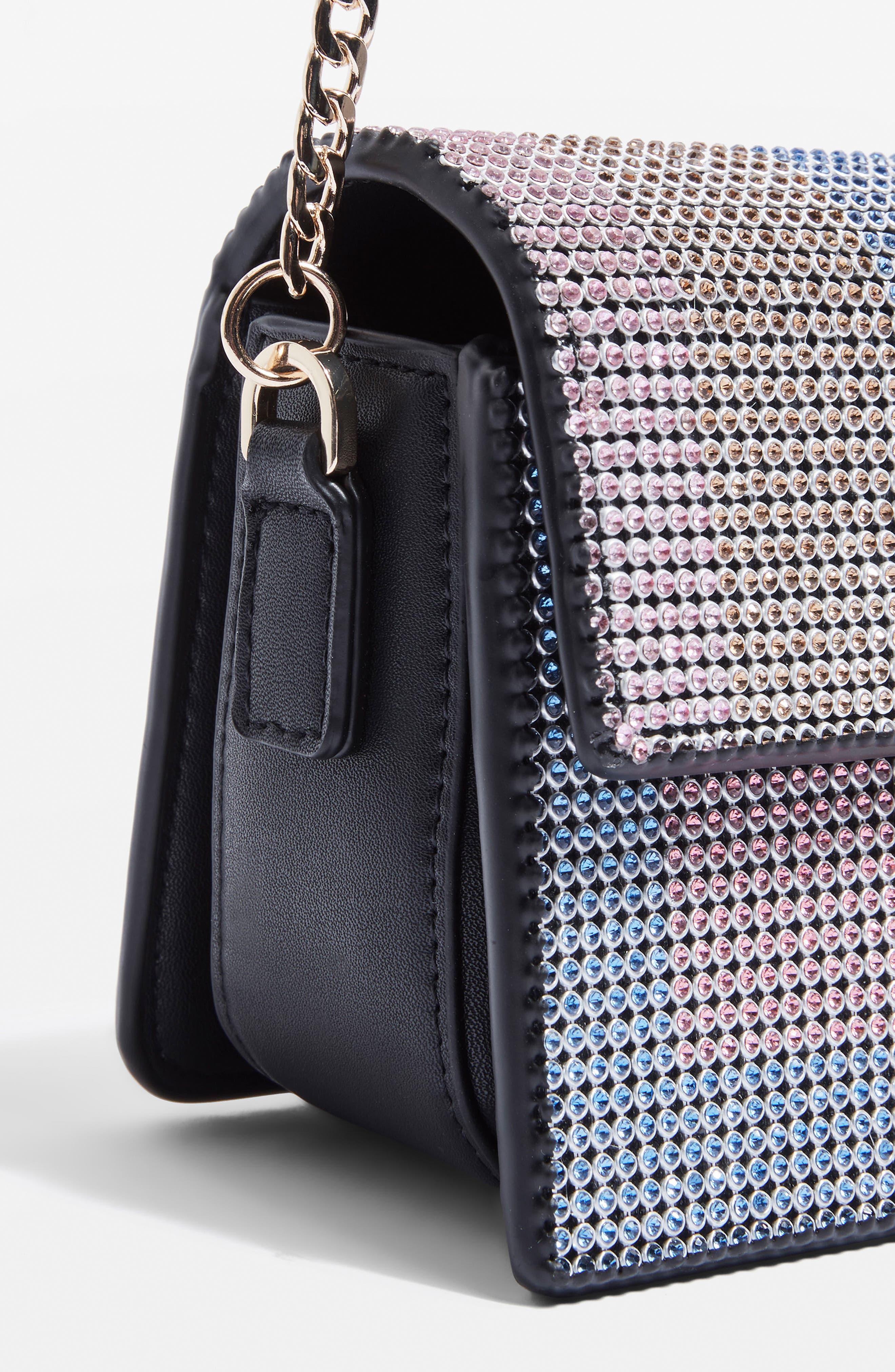 Rosie Diamante Rainbow Crossbody Bag,                             Alternate thumbnail 10, color,                             Black Multi