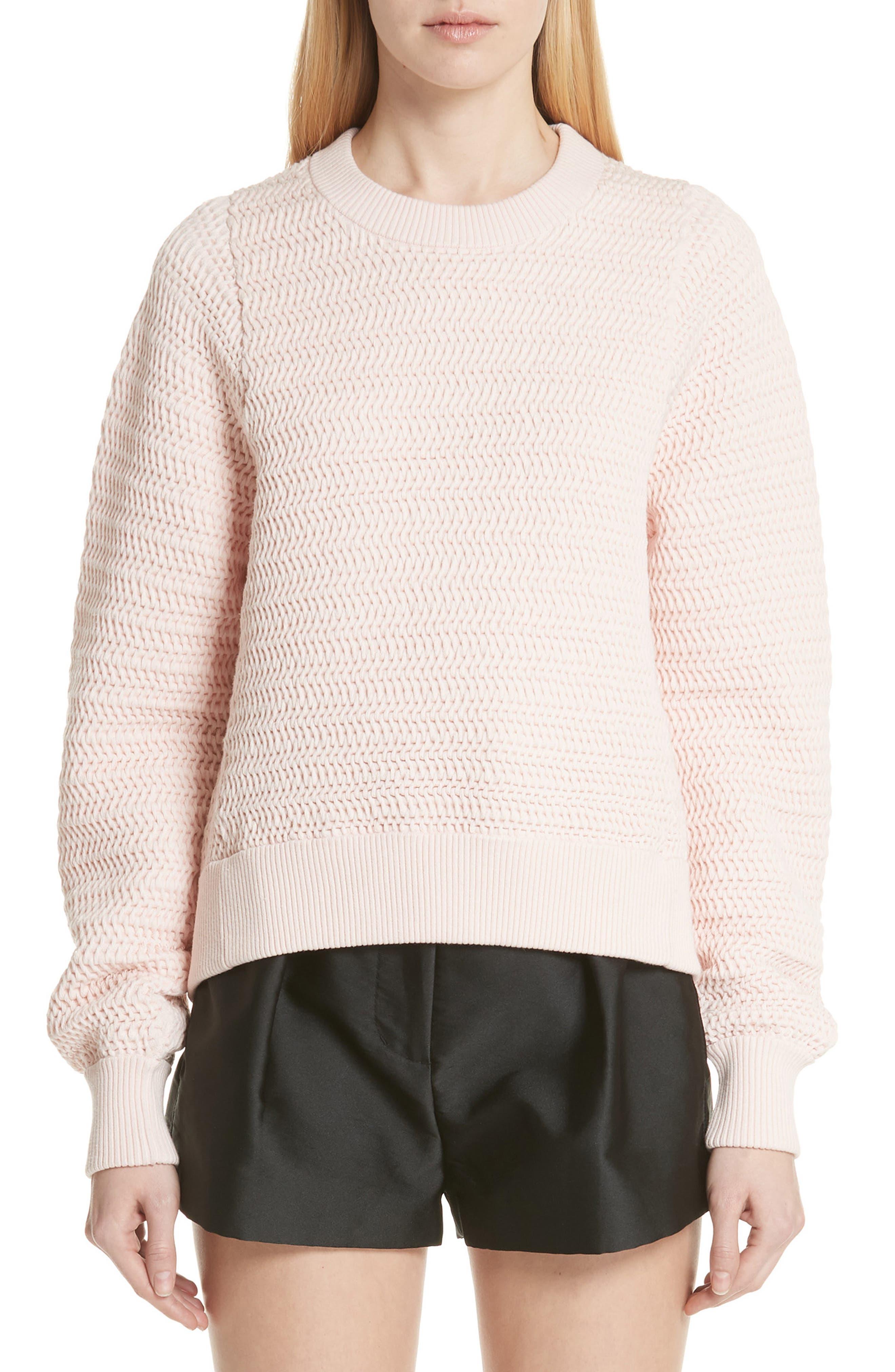 Faux Plait Silk Blend Cocoon Pullover,                         Main,                         color, Powder Pink