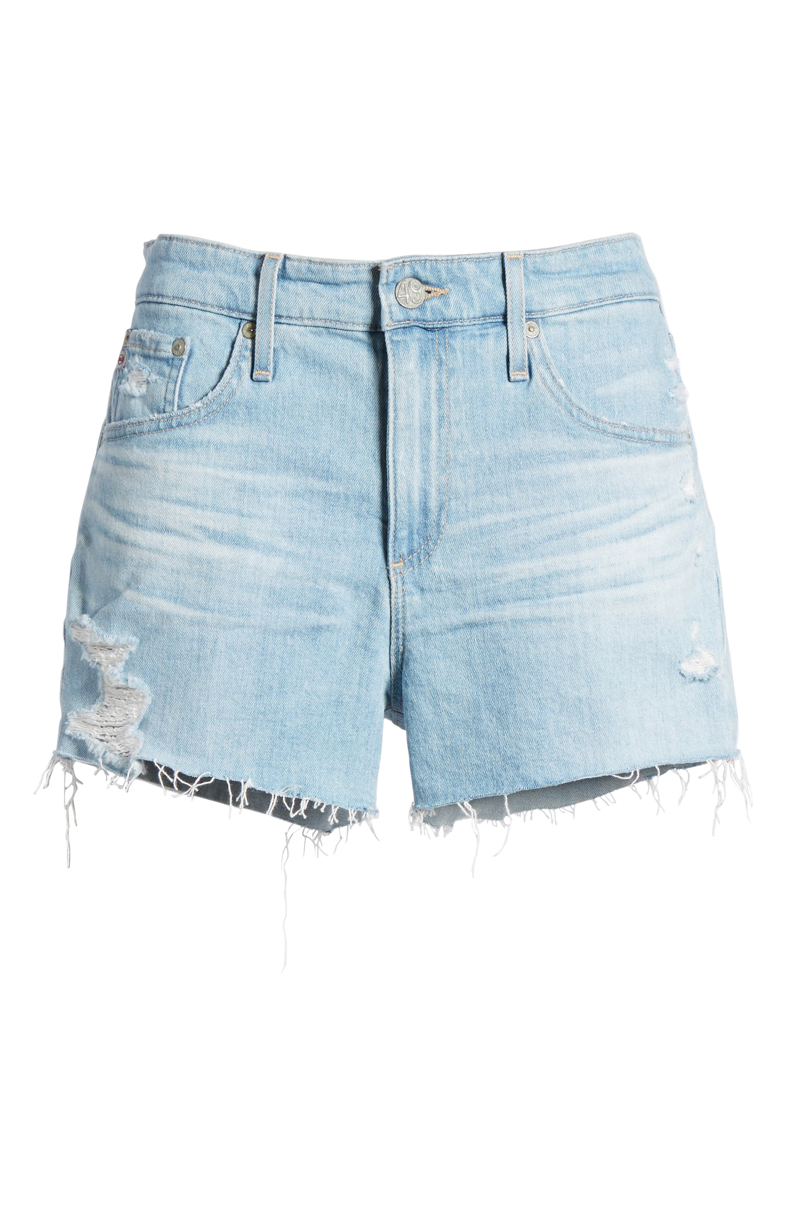 Bryn High Waist Cutoff Denim Shorts,                             Alternate thumbnail 7, color,                             23 Years Cerulean Chase
