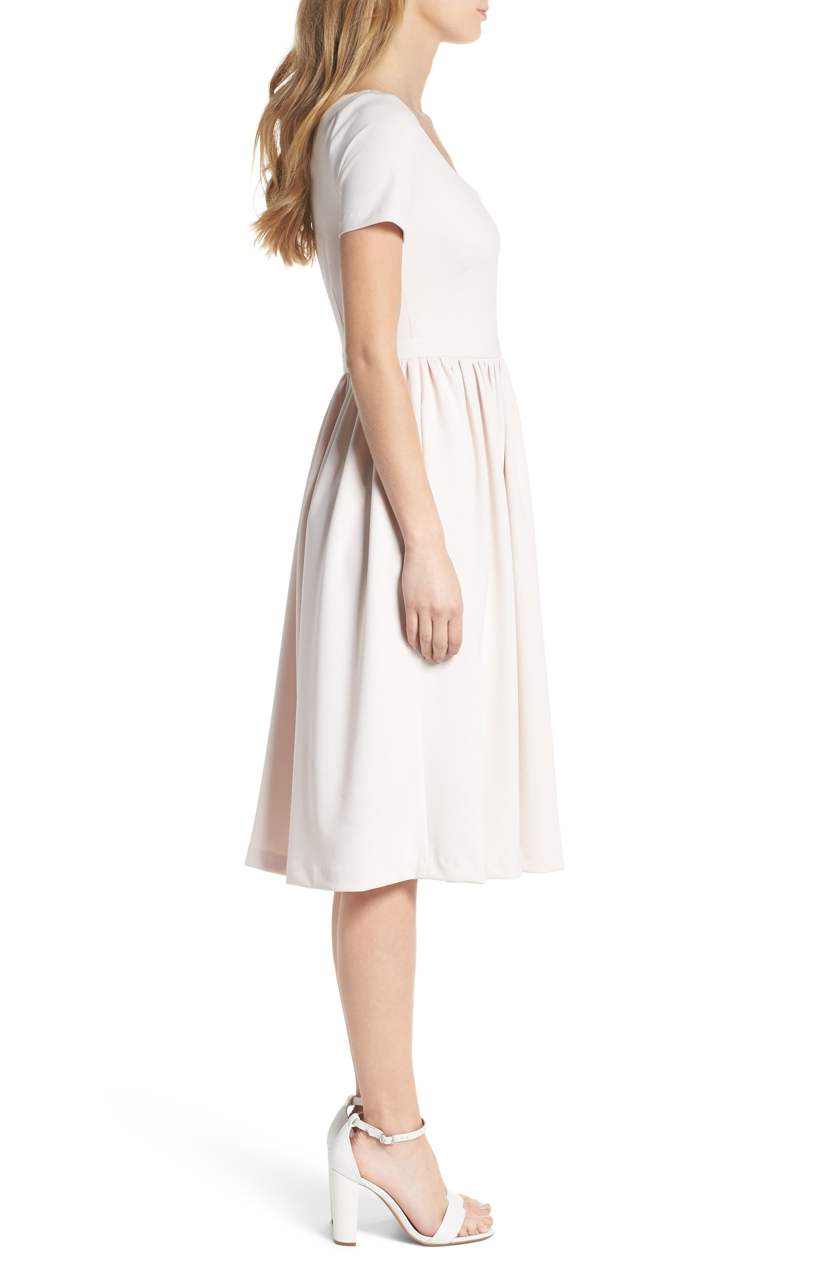 Annie Scuba Crepe Fit & Flare Dress,                             Alternate thumbnail 3, color,                             Milk