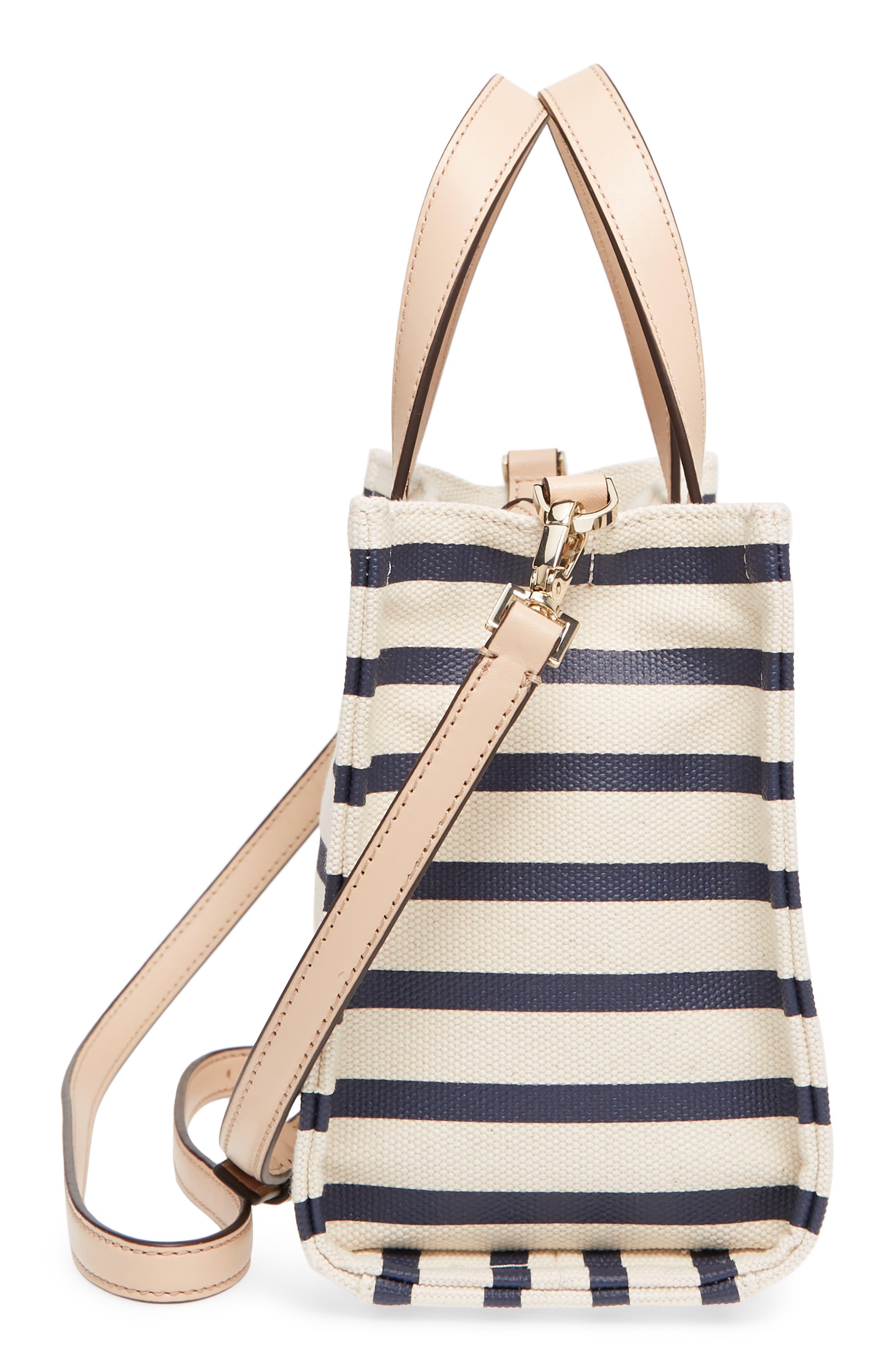 washington square - sam canvas handbag,                             Alternate thumbnail 5, color,                             Rich Navy Stripe