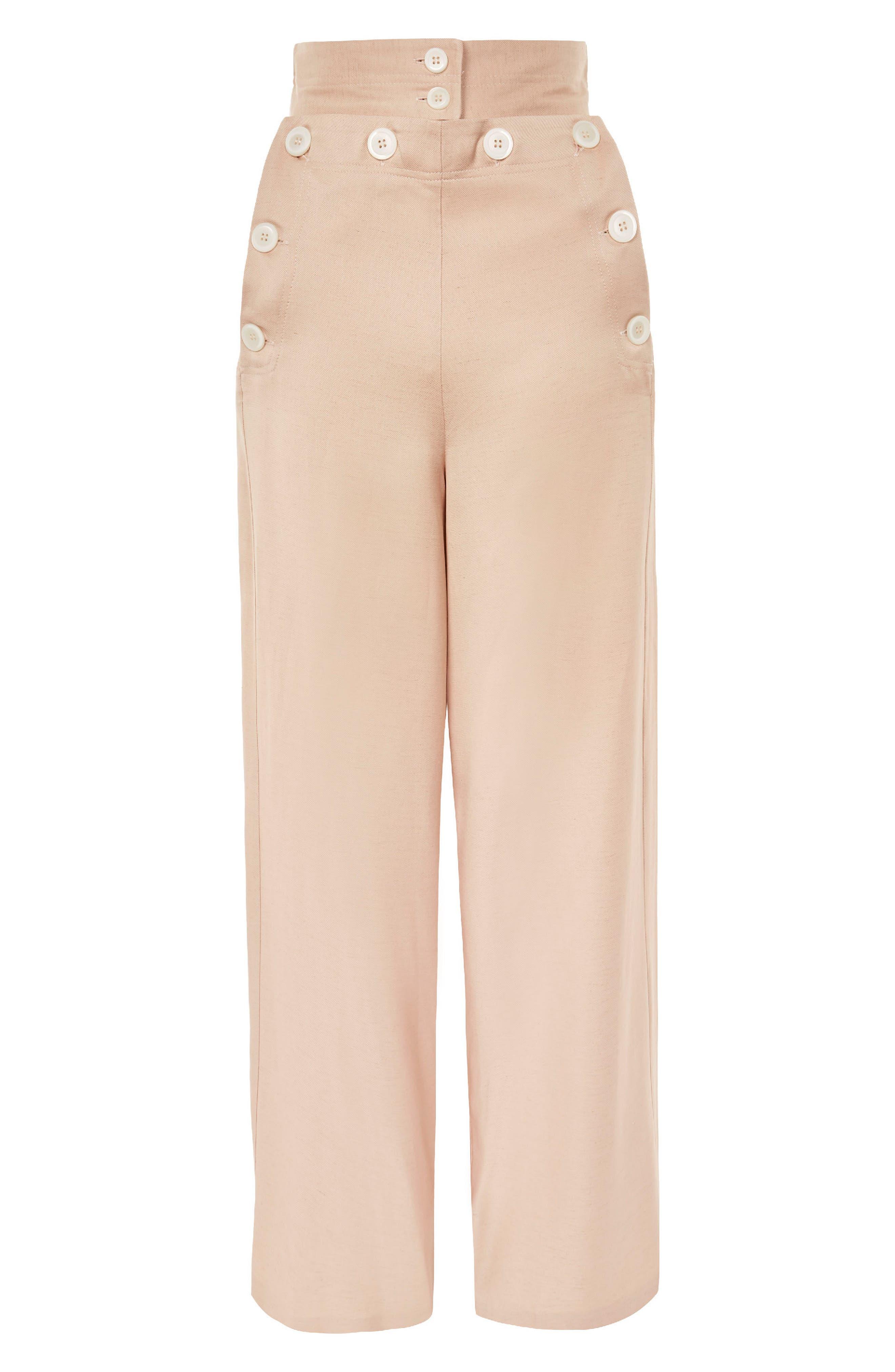 Wide Leg Sailor Trousers,                             Alternate thumbnail 4, color,                             Pink