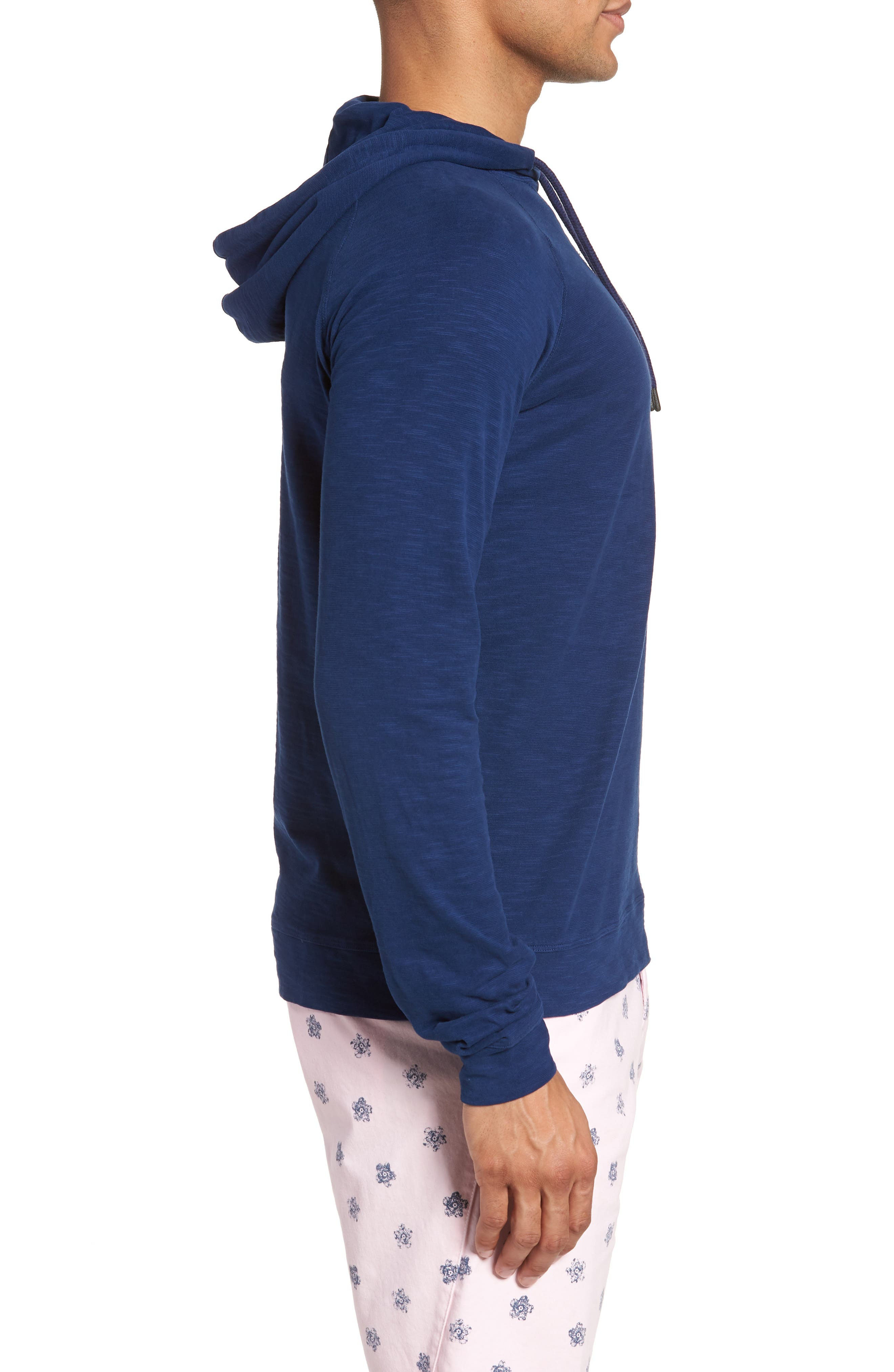 Trim Fit Pullover Hoodie,                             Alternate thumbnail 3, color,                             Blue