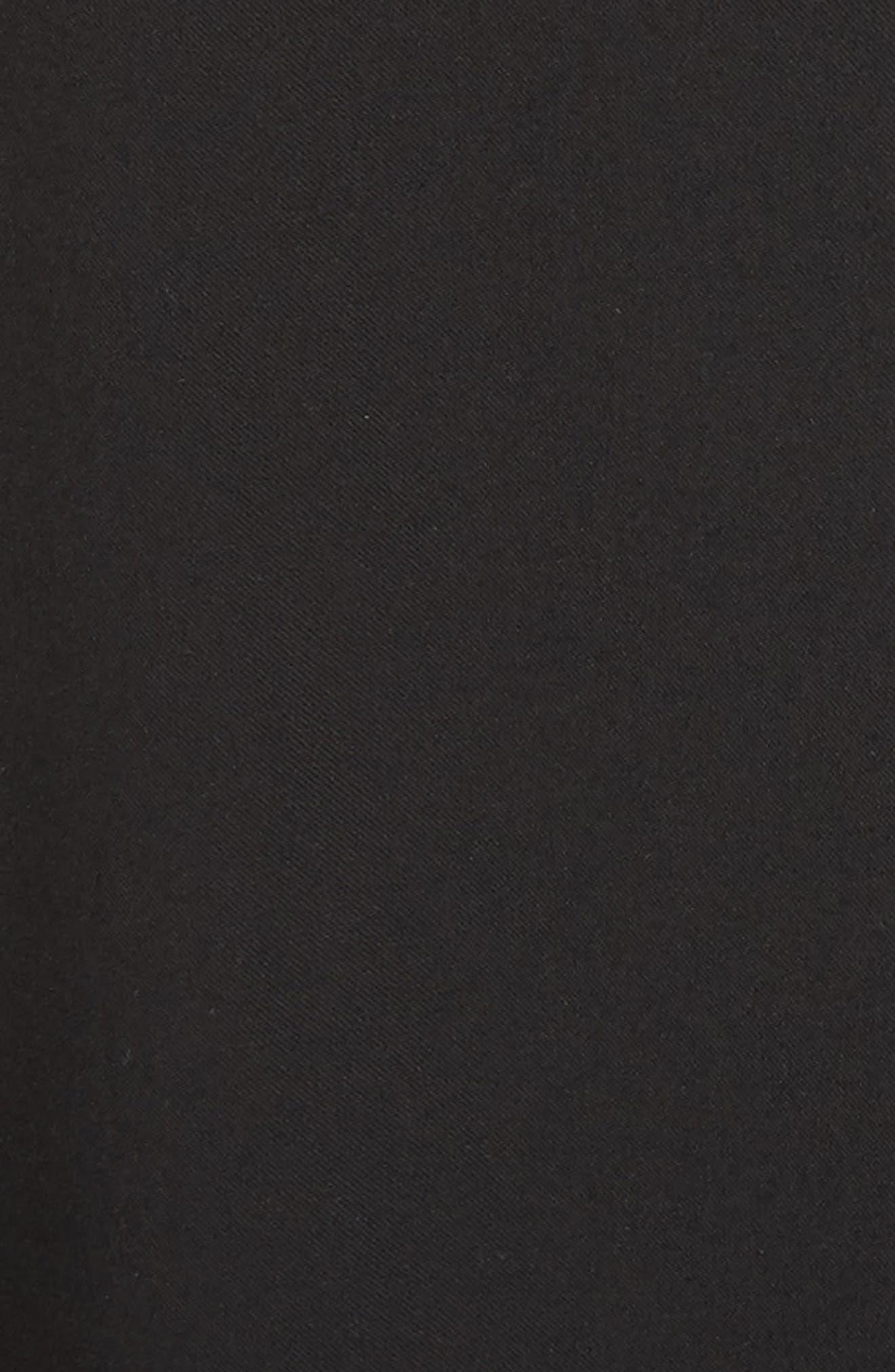 Pleated Faux Leather Trim Skirt,                             Alternate thumbnail 5, color,                             Black