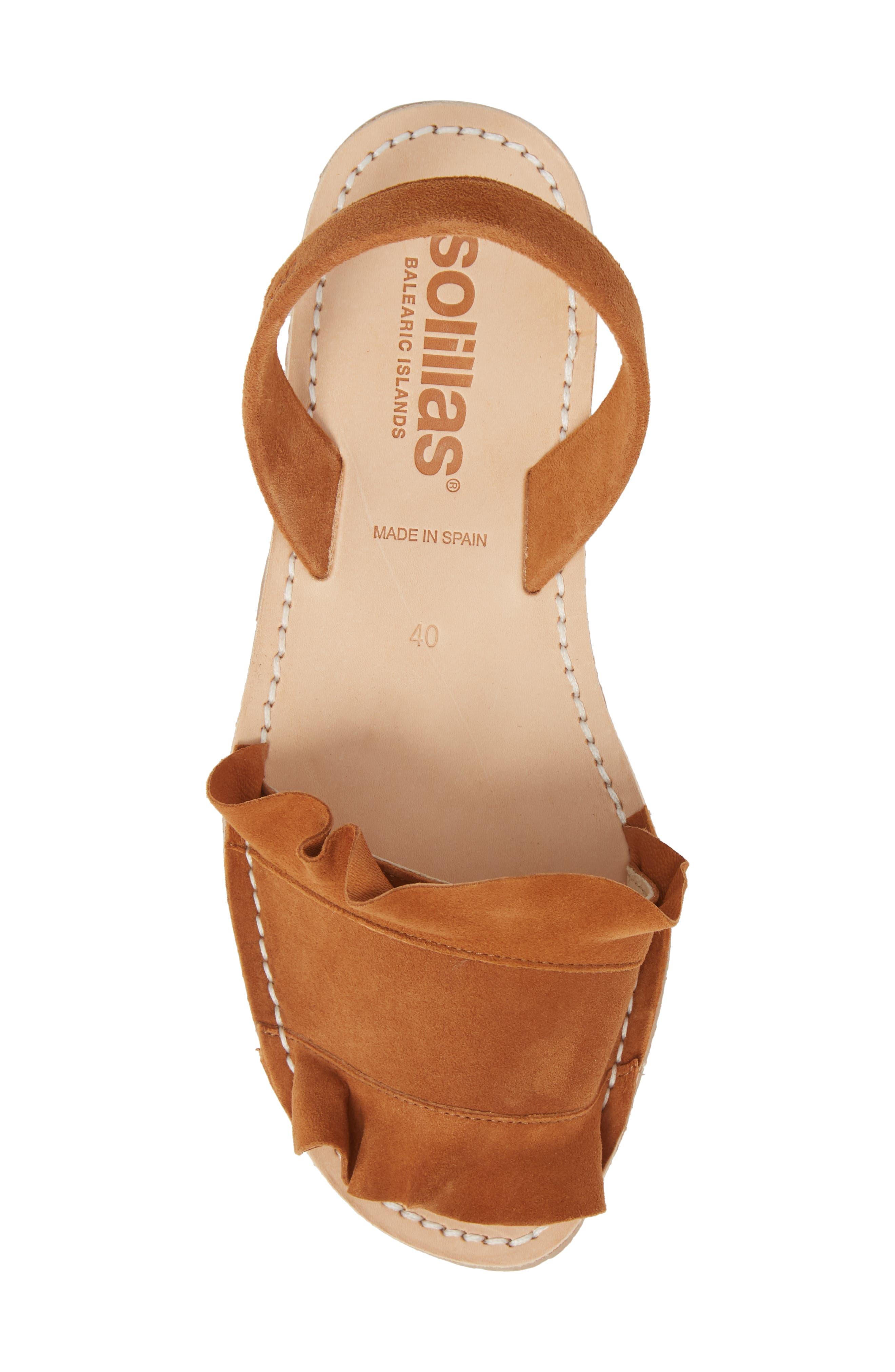 Frilled Flat Sandal,                             Alternate thumbnail 5, color,                             Tan